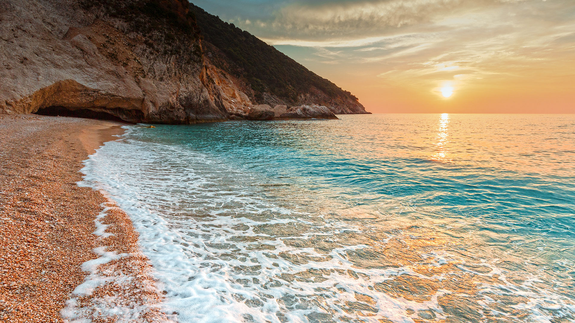 Facing west, Myrtos rewards you with magical sunsets