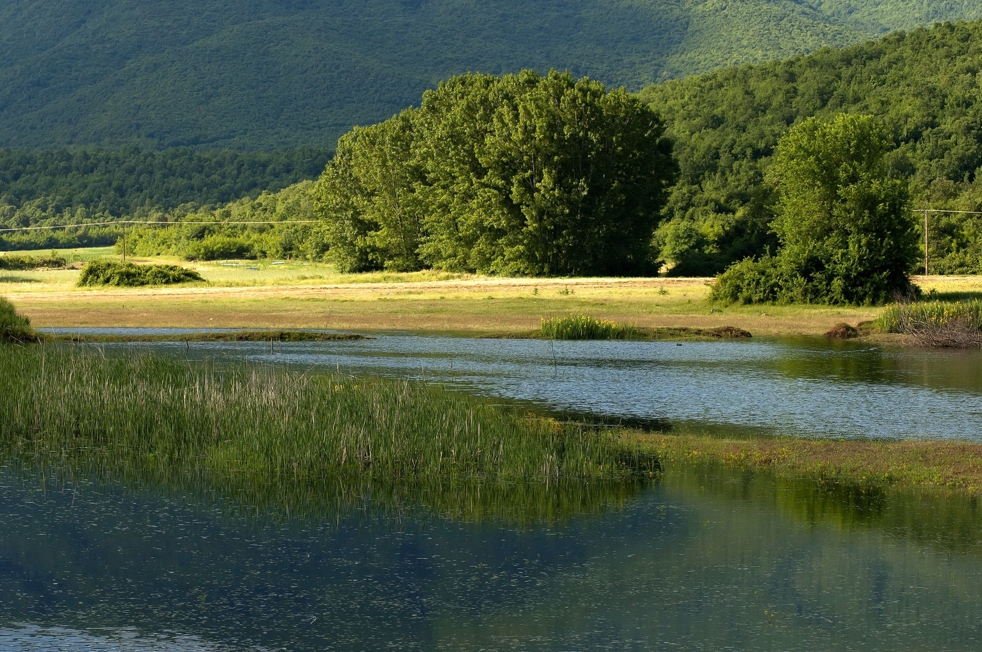 Kerkini lake and mountain eco-area at nord Greece by Struma river