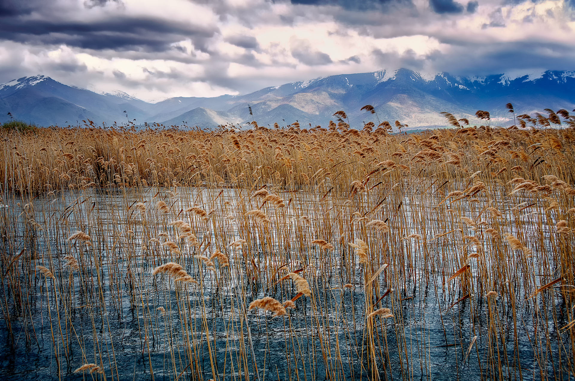 Gloomy autumn sky over Prespa lake, Florina, Greece