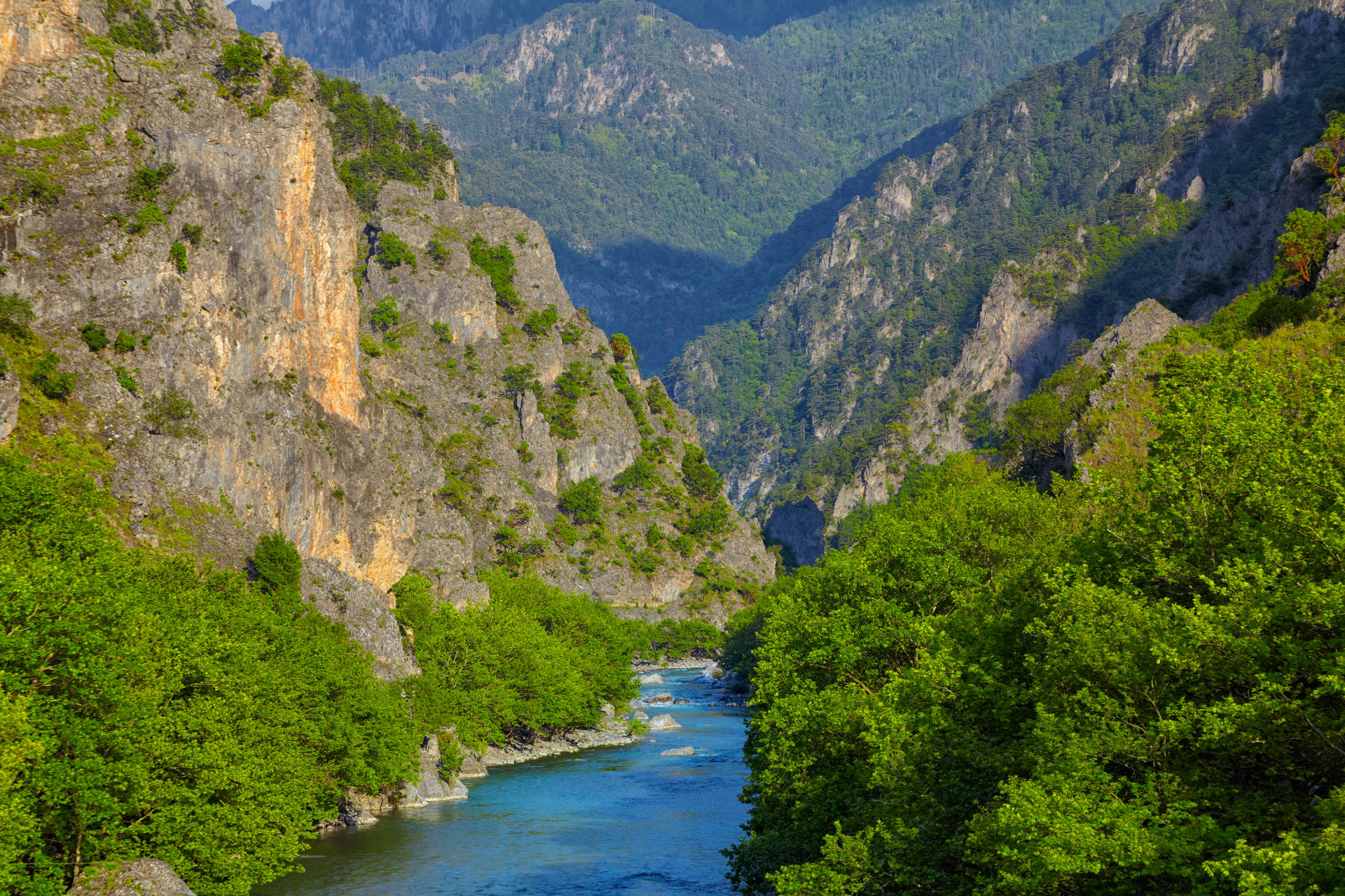 Aoos river near Konitsa during summer, Greece
