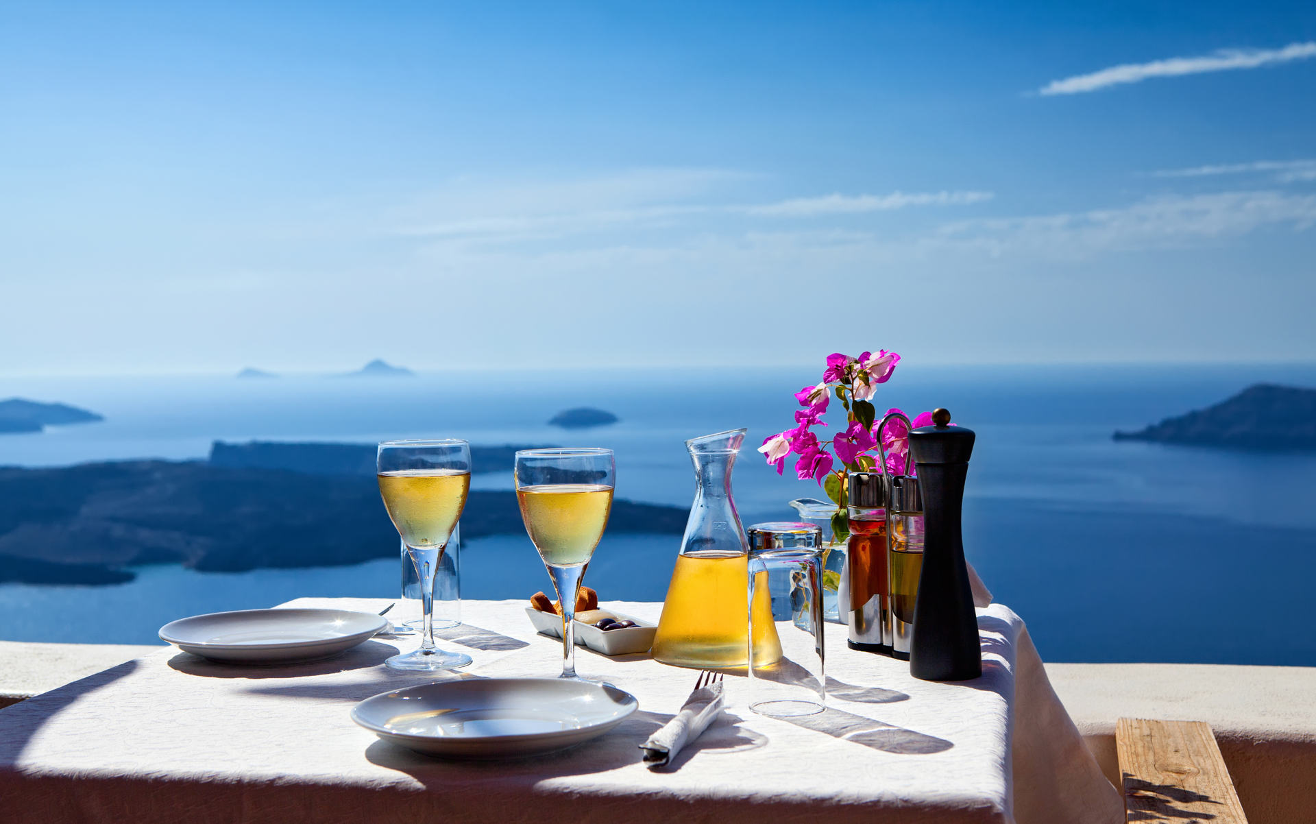 Table above sea for two in Santorini