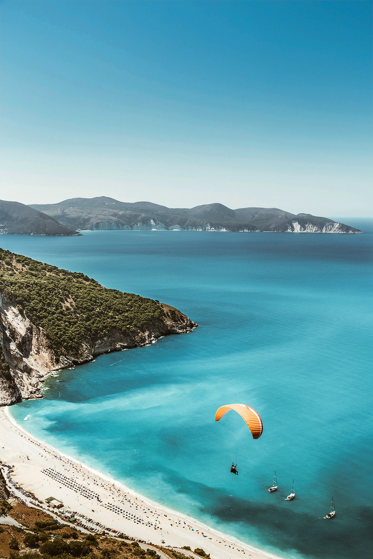 Paragliding flight over Myrtos beach, Kefalonia