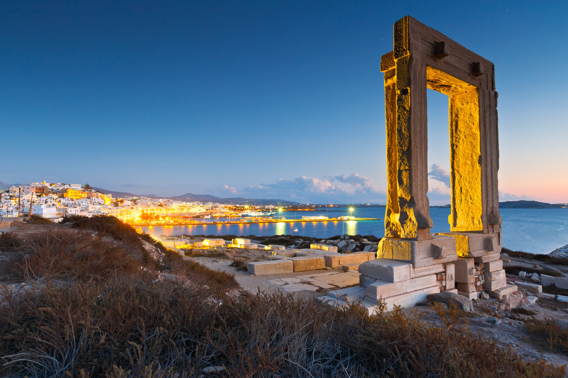 Naxos, Portara and remains of temple of Apollo at sunset