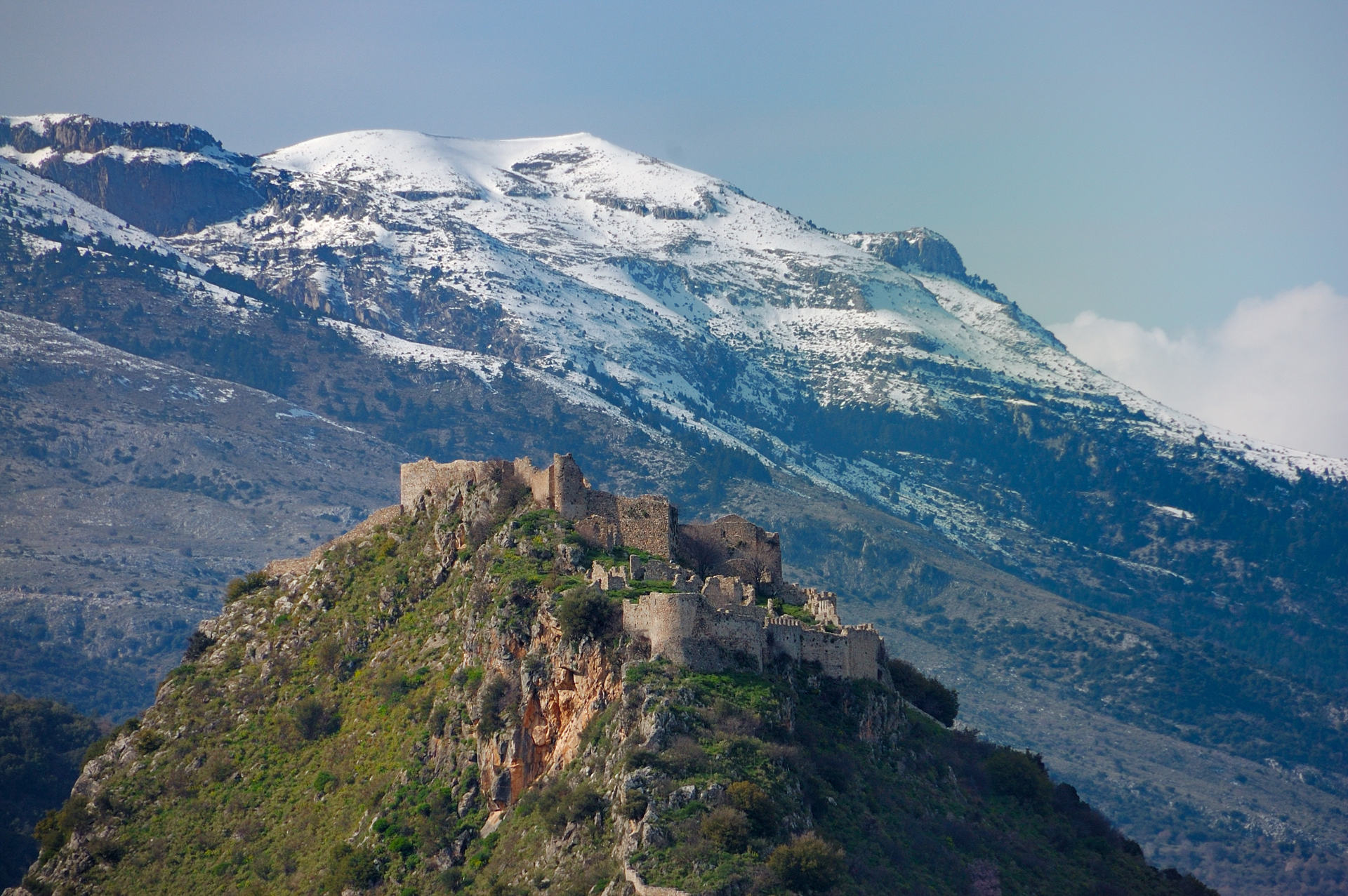 Mystras castle and Taygetus mountain