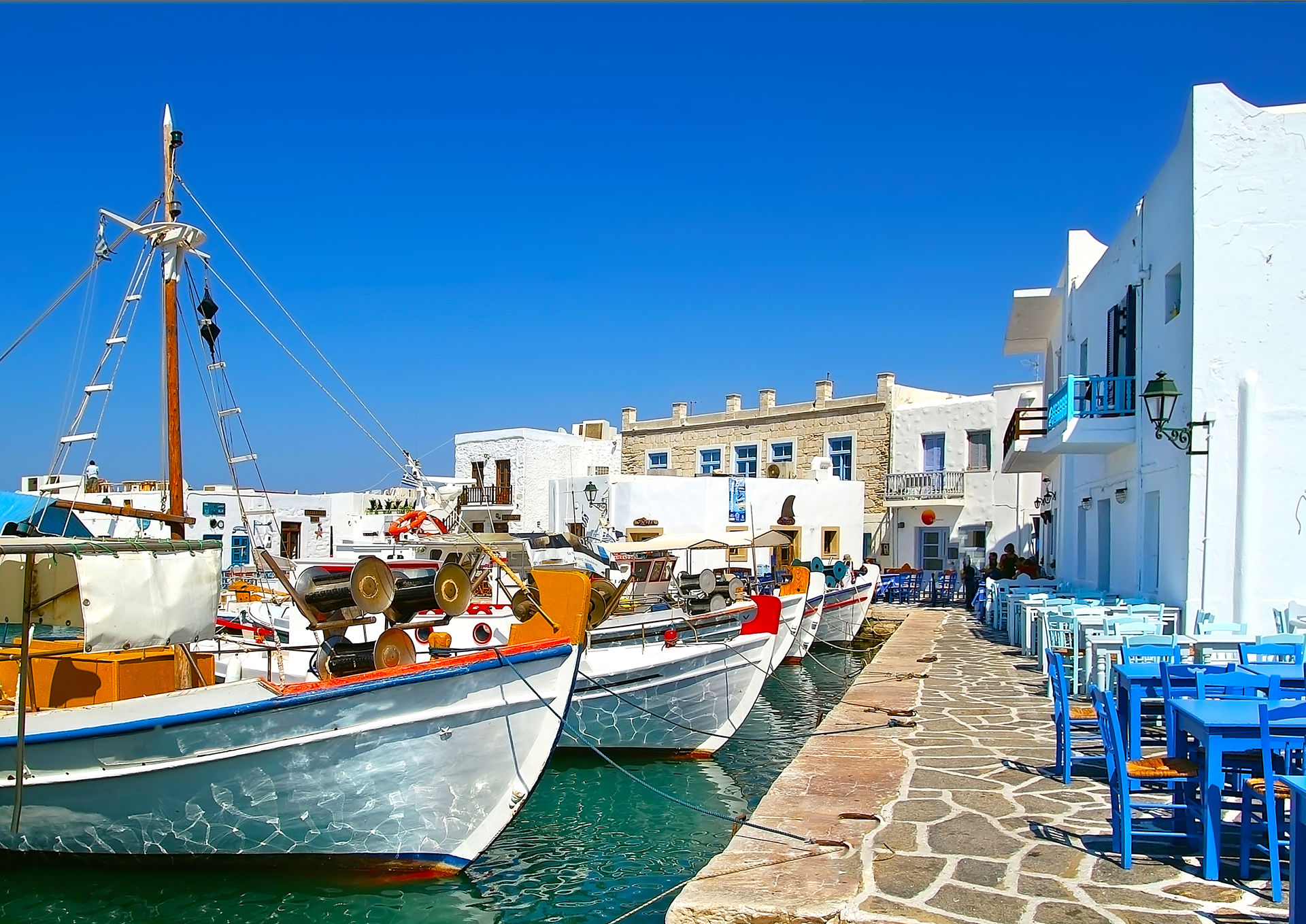 Greek fishing village in Paros of Naoussa