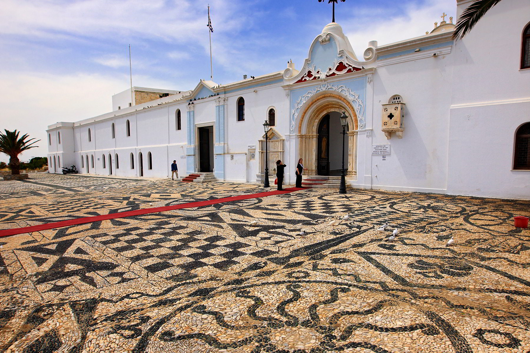 Pebble floor surface in Tinos church