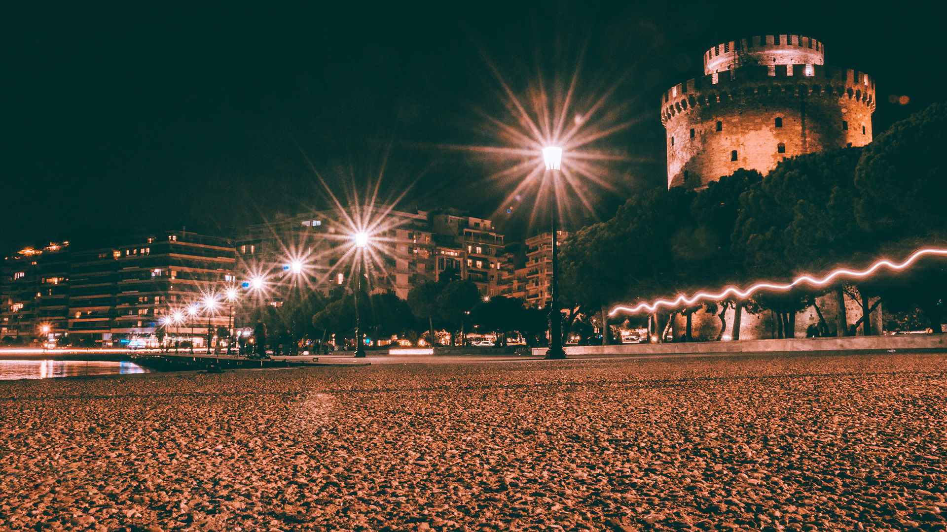 Night view of White Tower, Thessaloniki