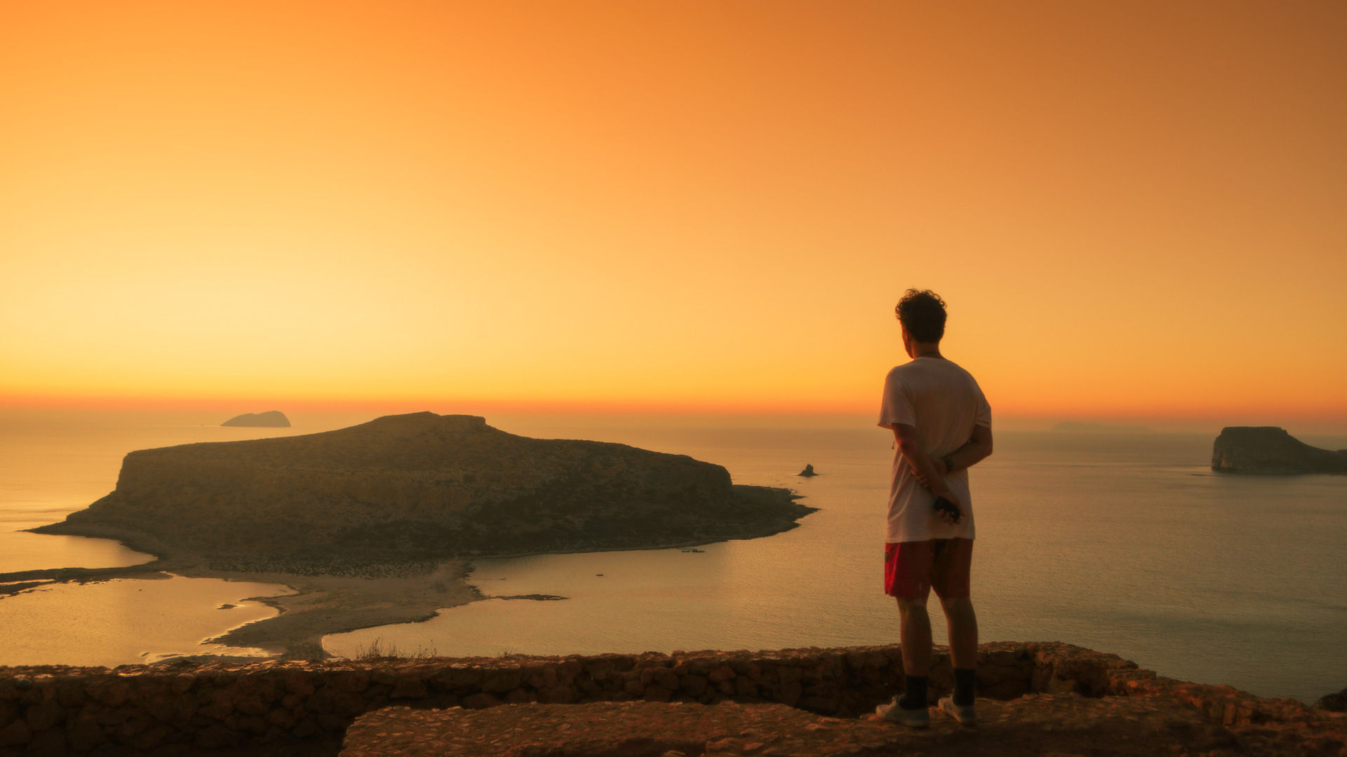 Watching the sunset at Balos beach from above, one of the most beautiful beaches of Crete and Europe