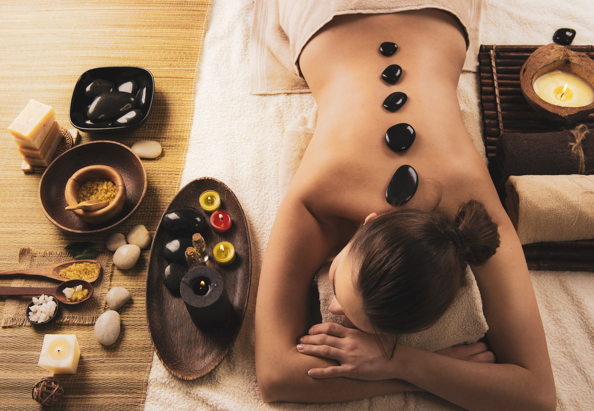 Hot stones massage in a spa