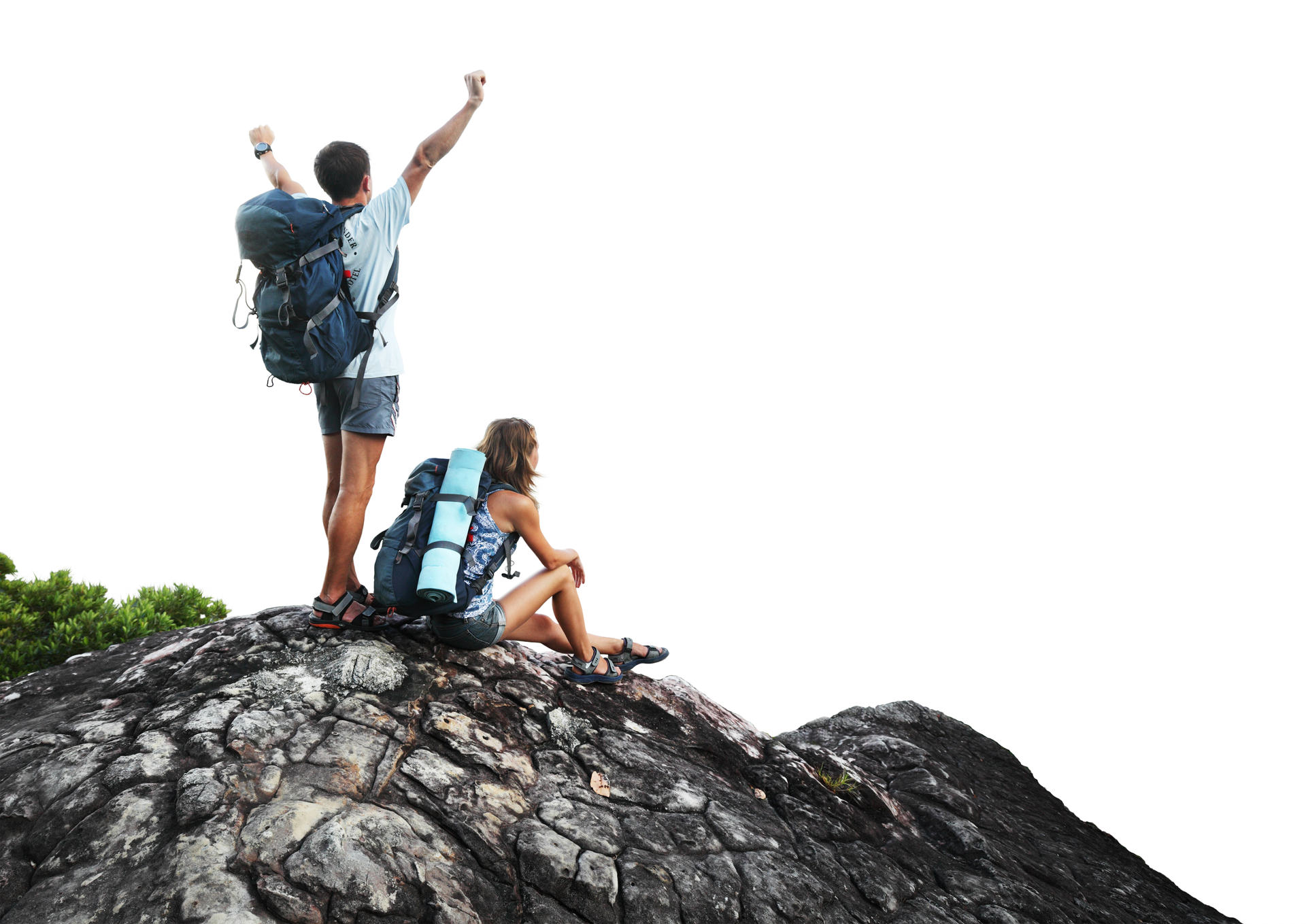 Two hikers with backpacks on top of a mountain isolated on a white background