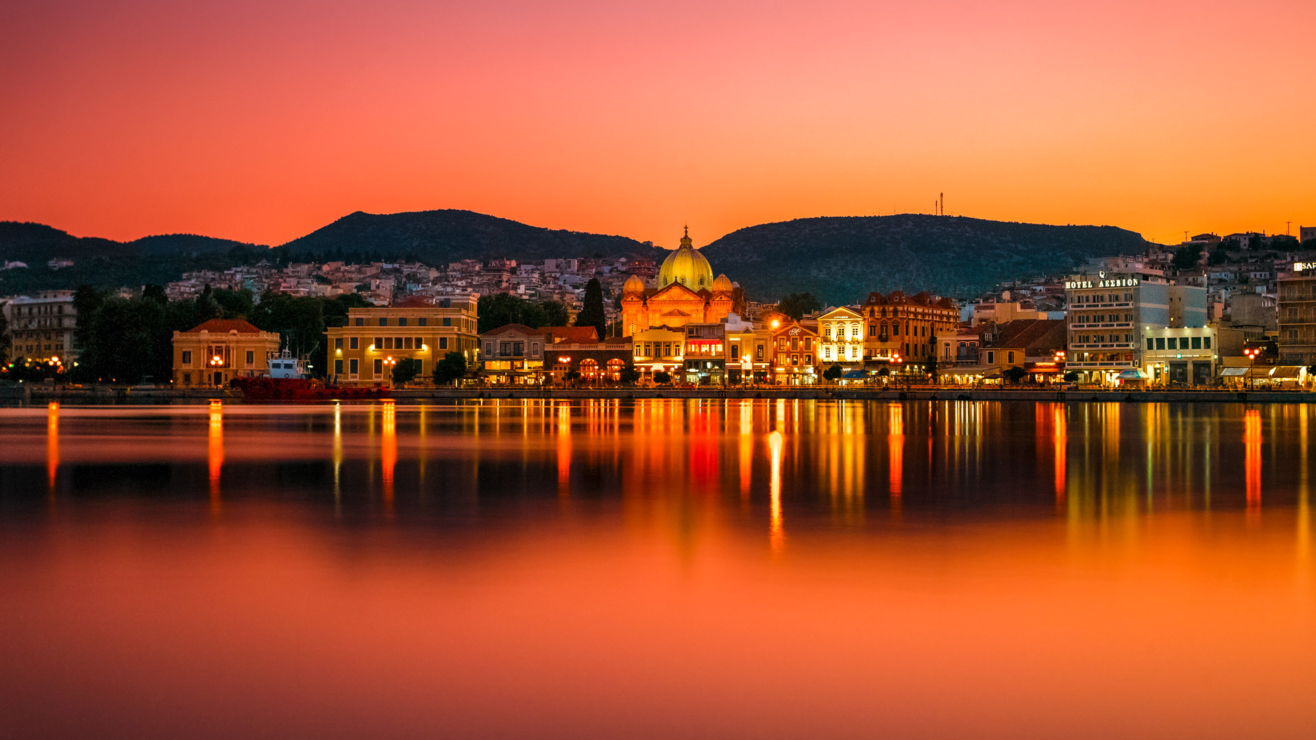 Panoramic view of Mytilene town in Lesvos island
