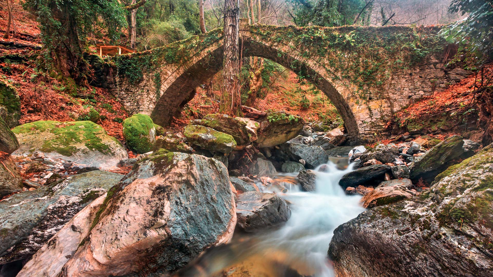 The old stone bridge (constructed in 1787) close to Tsangarada village, Pelion mountain