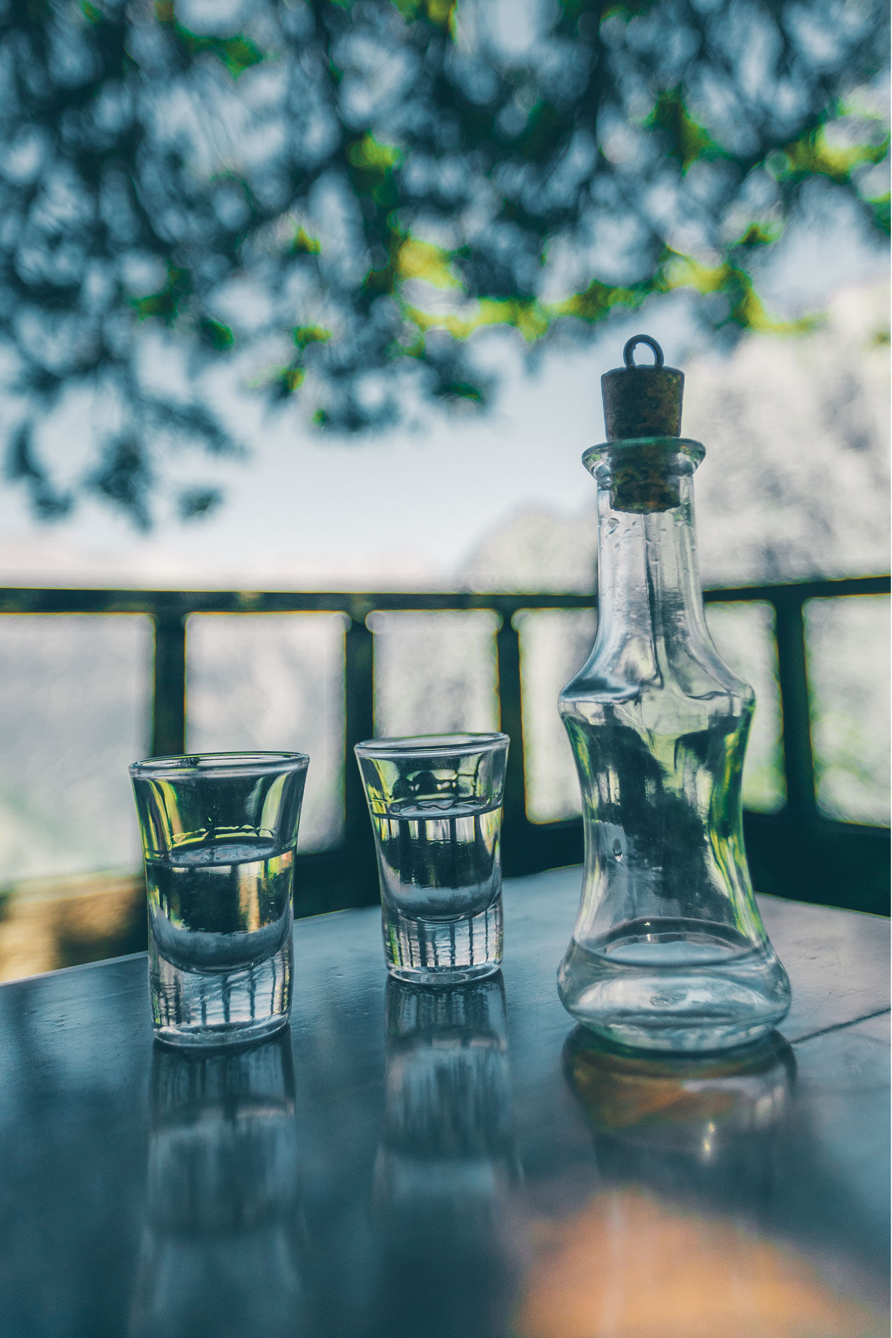A glass or raki, watching the wild beauty of the White Mountains