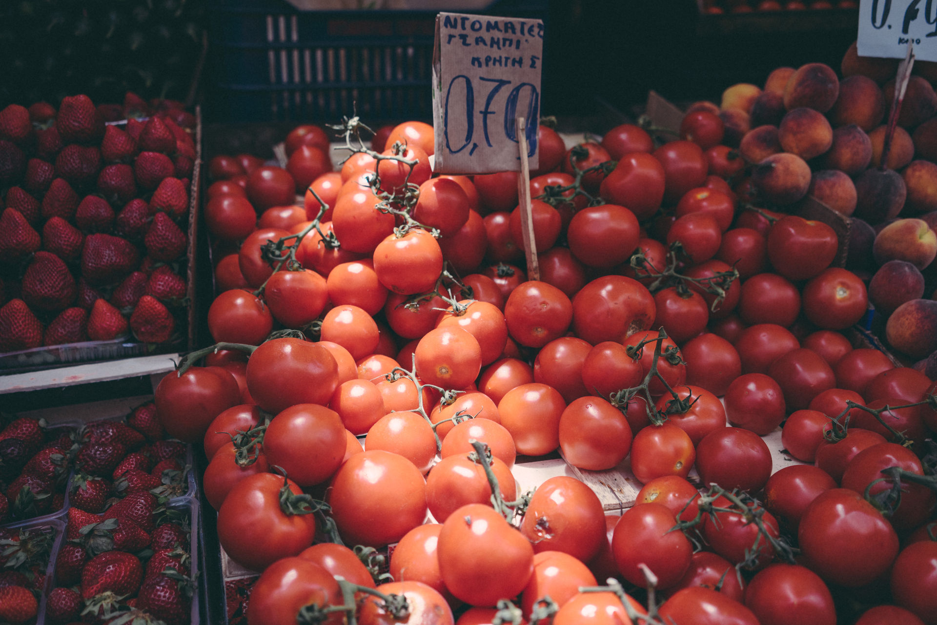 Perfectly rounded and juicy Greek tomatoes