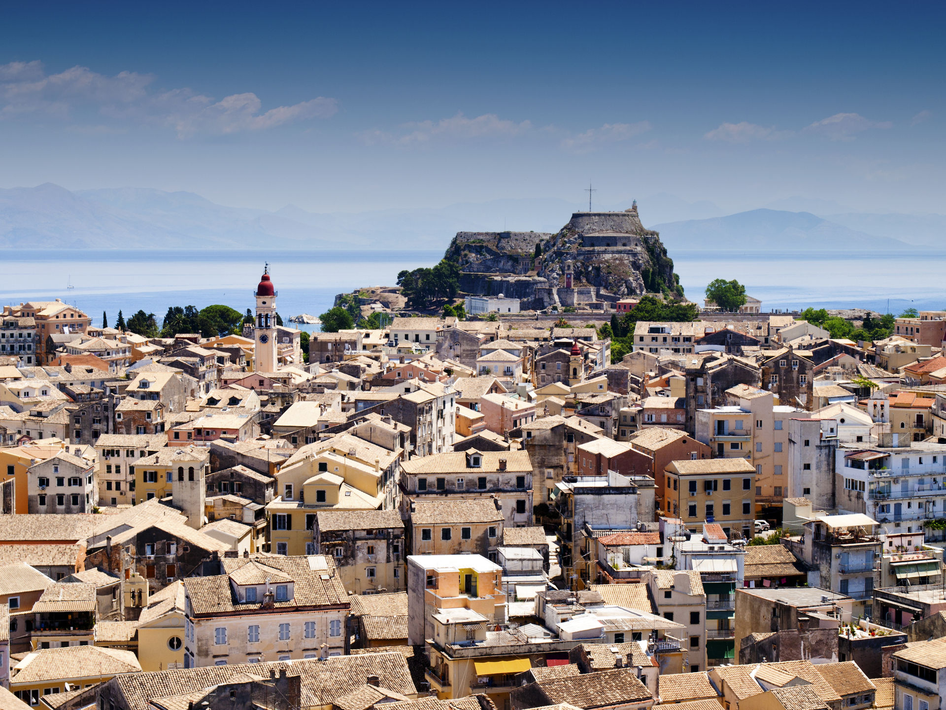 Aerial view of Corfu city