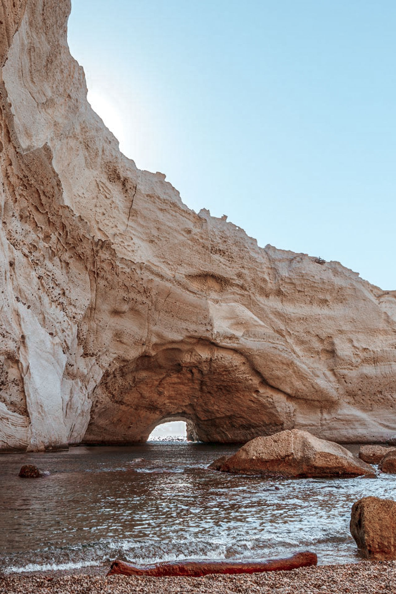 Sykia Beach or Sykia Cave in Milos island, is accessible only by the sea