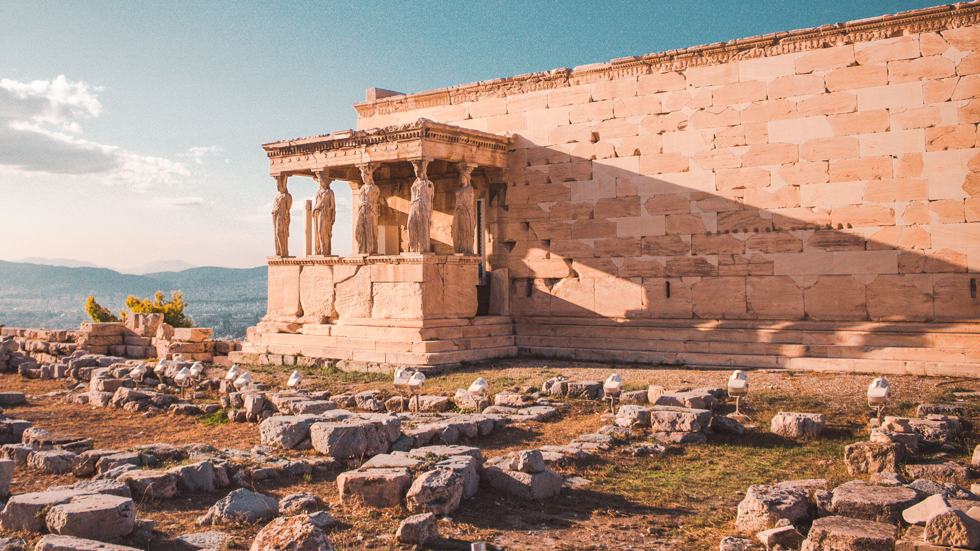 The Erechtheion, a temple dedicated to both Athena and Poseidon
