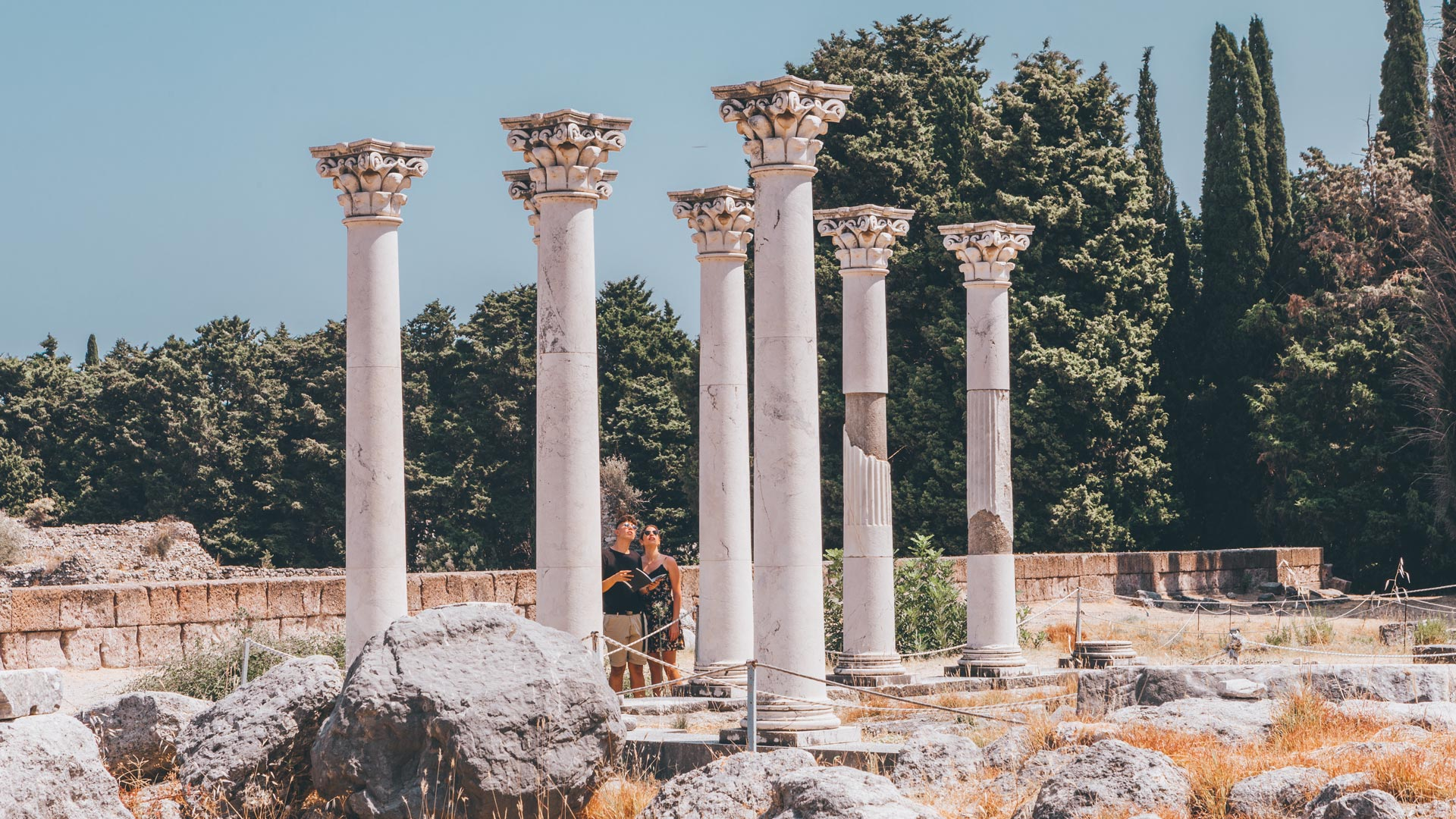 The seven columns of the Temple of Apollo (father of Asclepius)