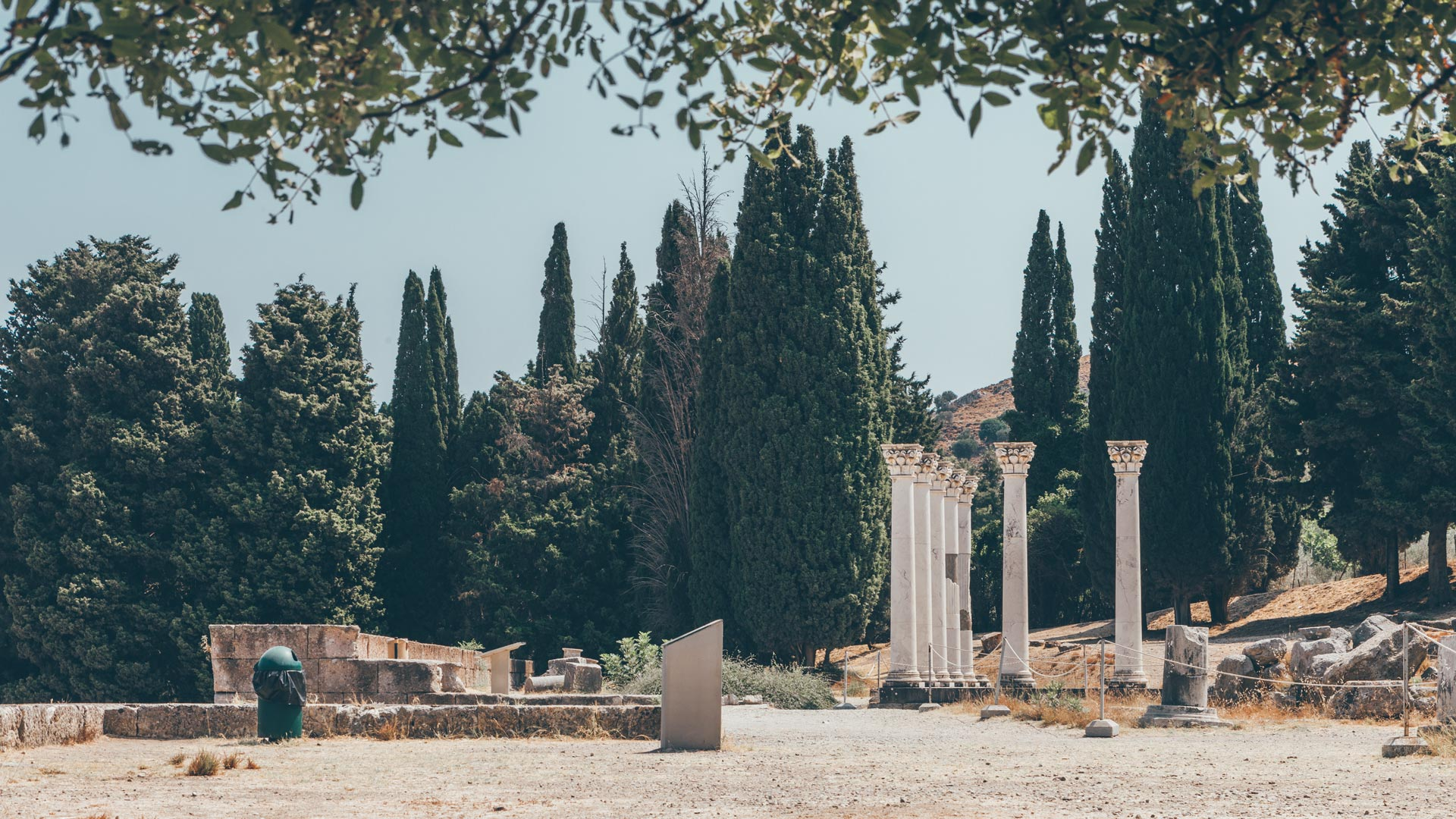The seven columns of the Temple of Apollo (father of Asclepius) have been restored to help bring the site back to life