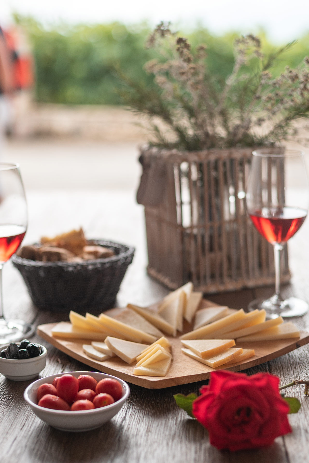 A wonderful set of local products with the famous red wine of Heraklion