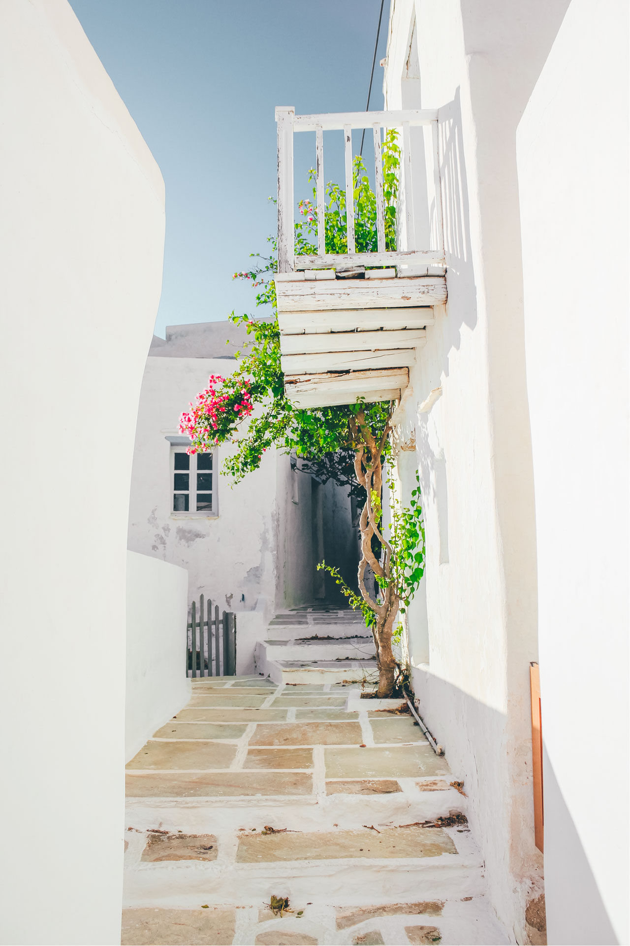 It's a Cycladic maze of whitewashed alleys and small courtyards and cascading bougainvillea