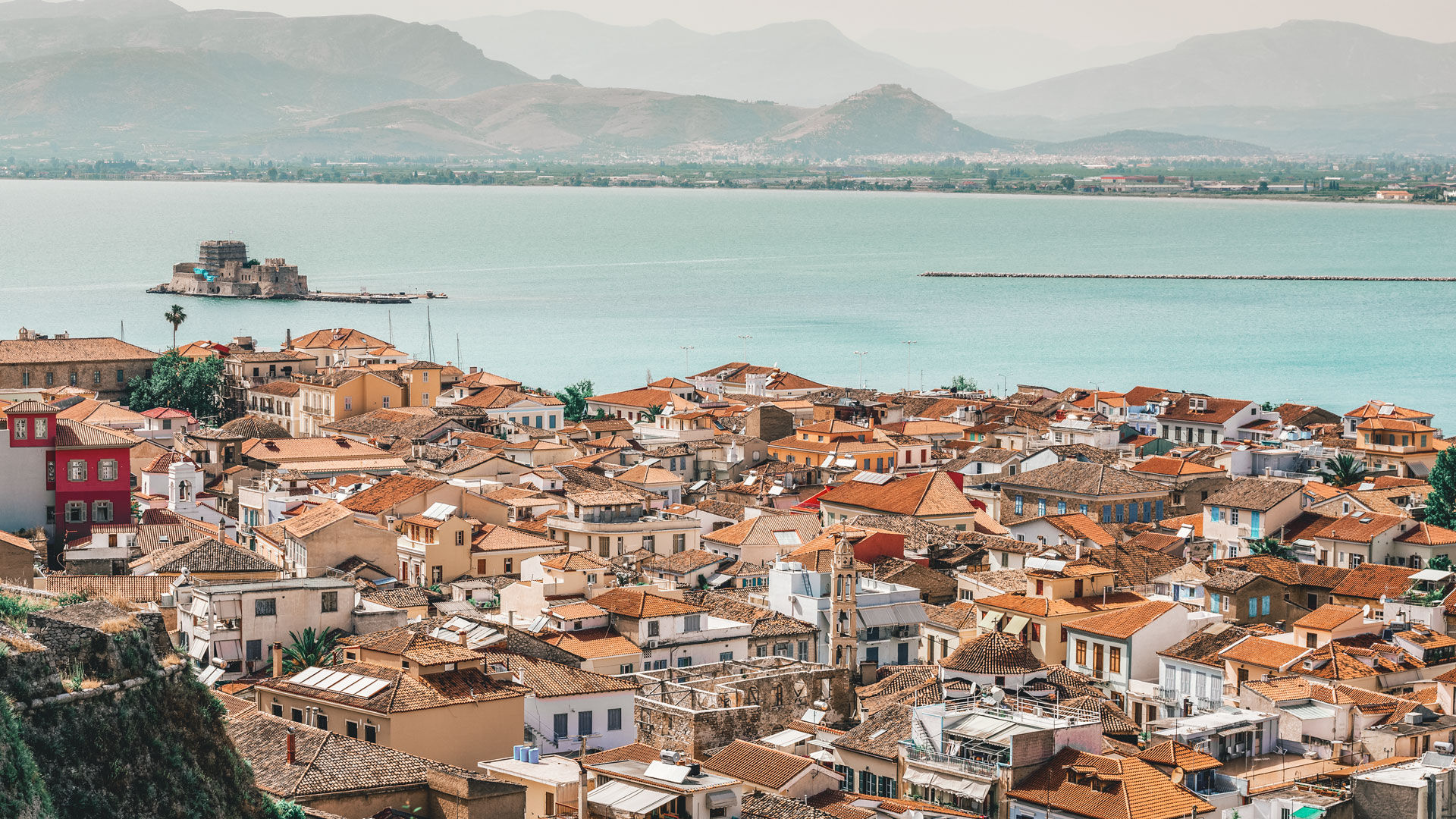 Nafplion town as seen from Palamidi Castle