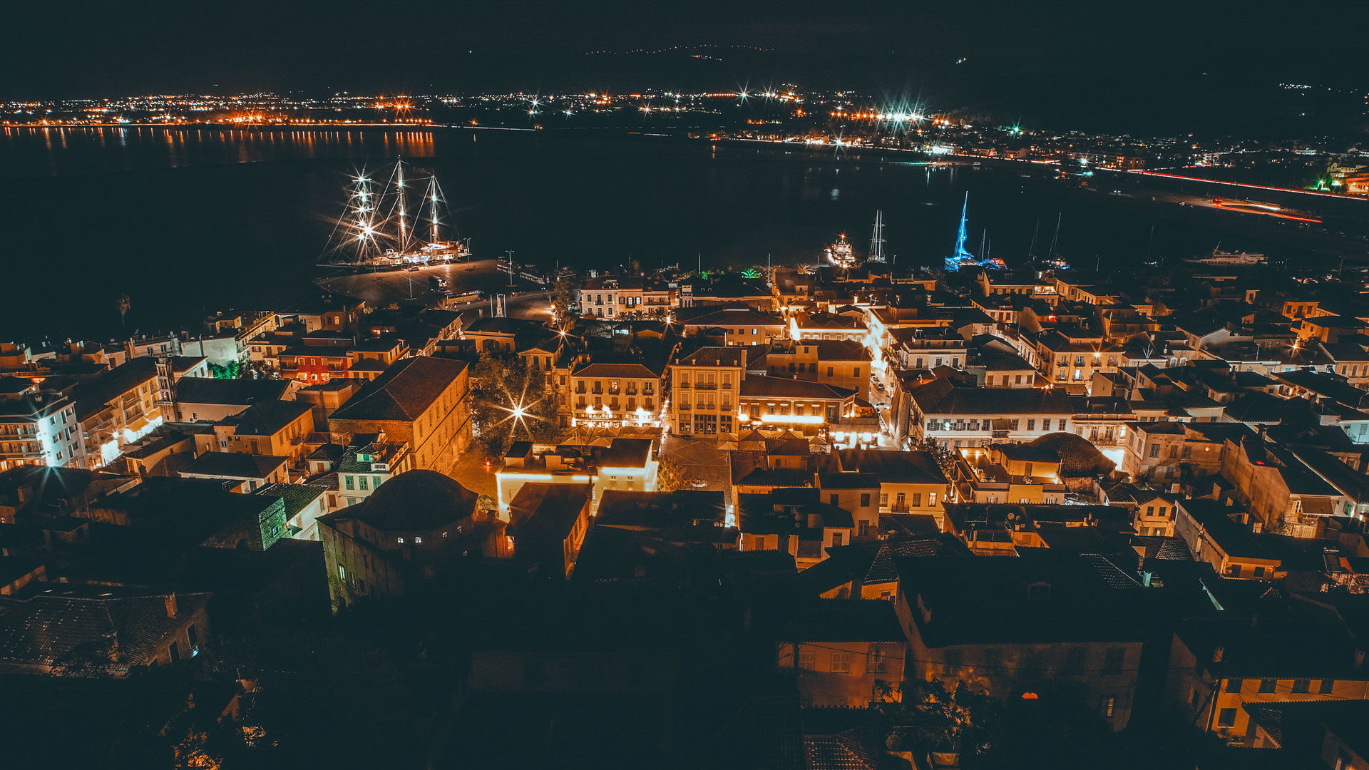 Nafplio's Old Town & waterfront by night