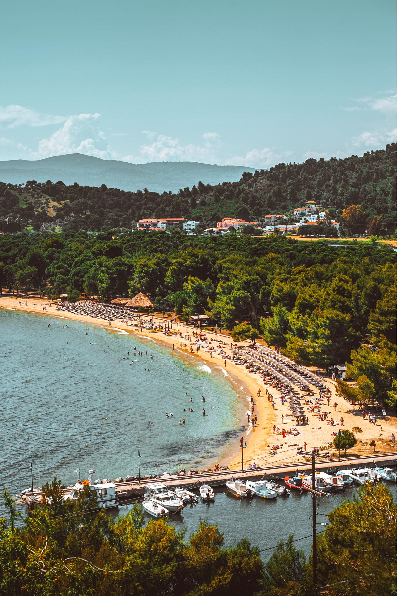 Nature lovers will adore an outstanding lakeside setting and beach of golden sand on the western shores of Skiathos