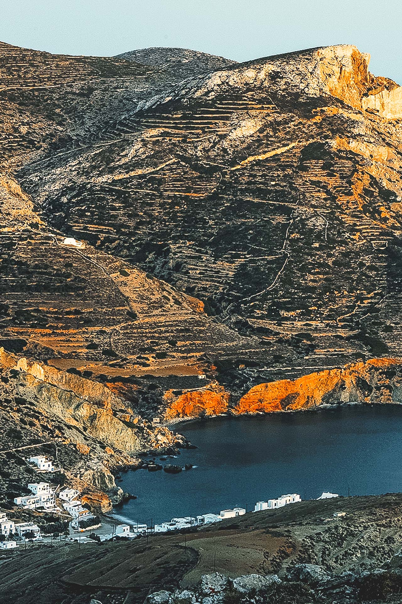One of the footpaths will lead you to the picturesque bay of Aggali, along a coastal route in a rocky and steep landscape-Folegandros