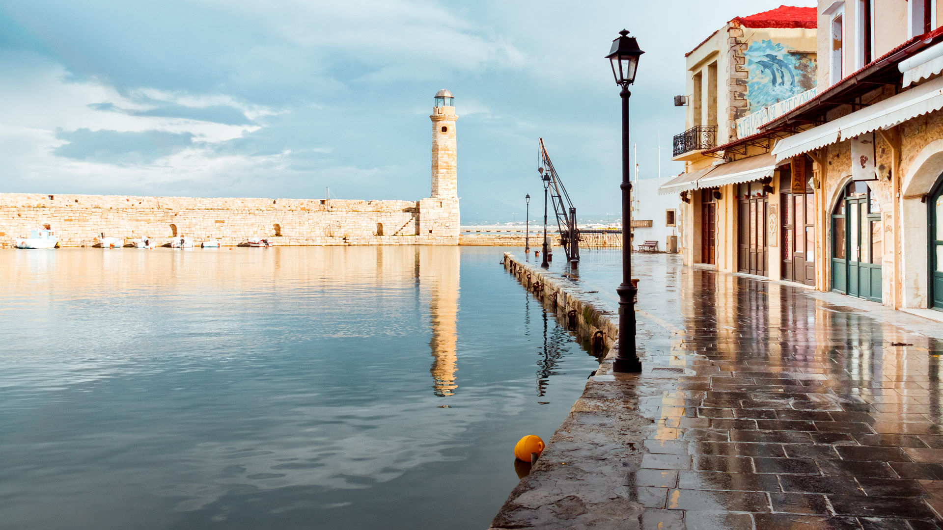 The Venetian harbour and the lighthouse in Rethymno