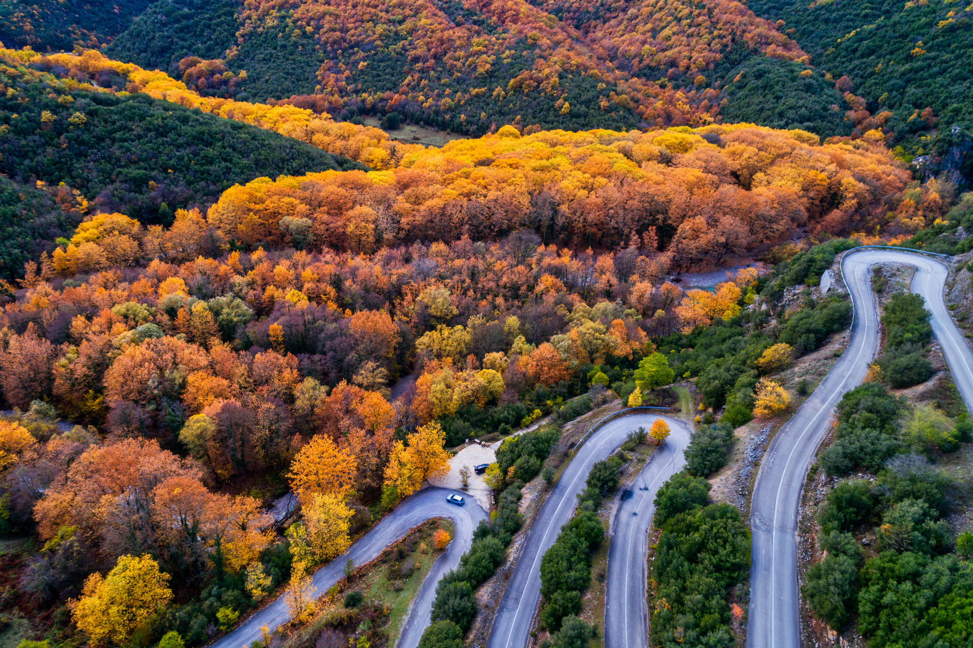 Aerial view of the the Vikos Gorge in the autumn