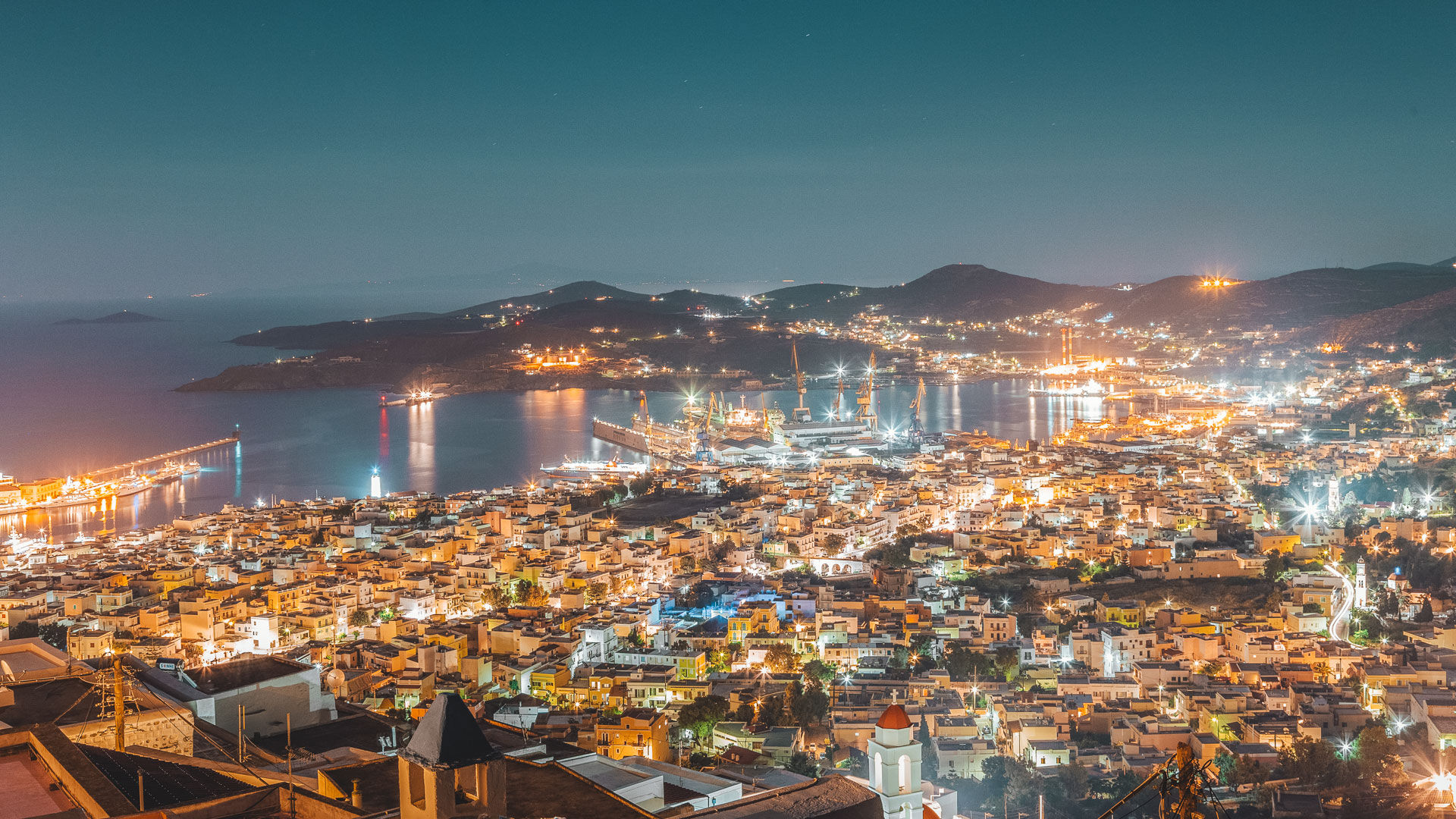 Ermoupoli, the port town of Syros at night