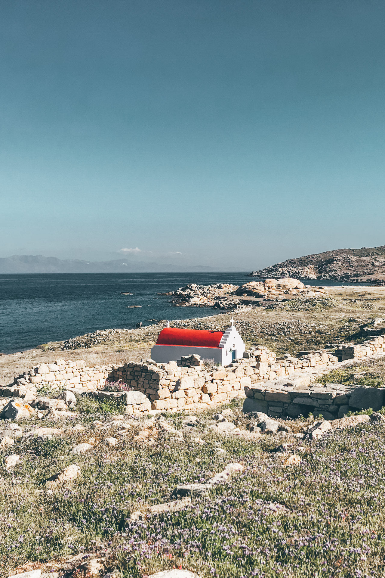 Landscape on Mykonos island and a chapel