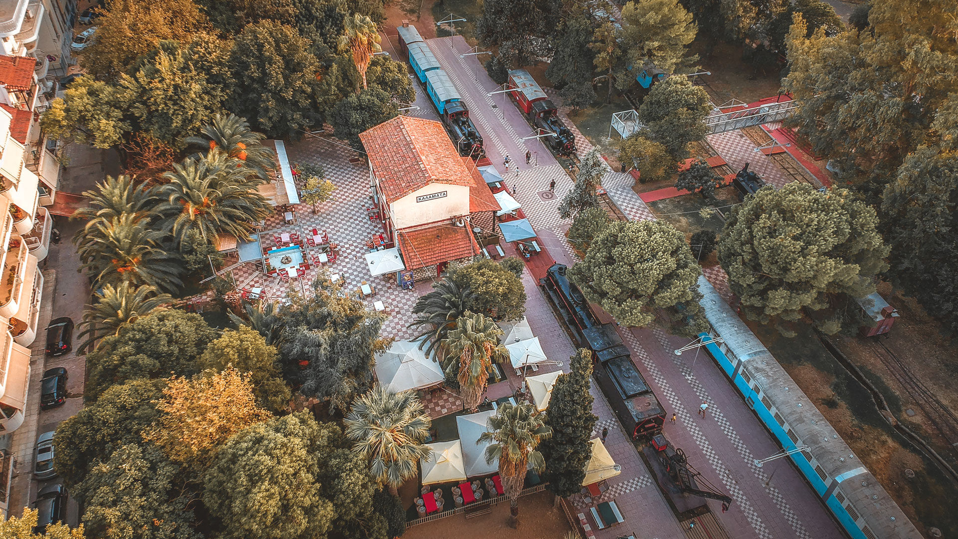 Aerial view over the Kalamata Municipal Railway Park the only open air museum of its kind in Greece