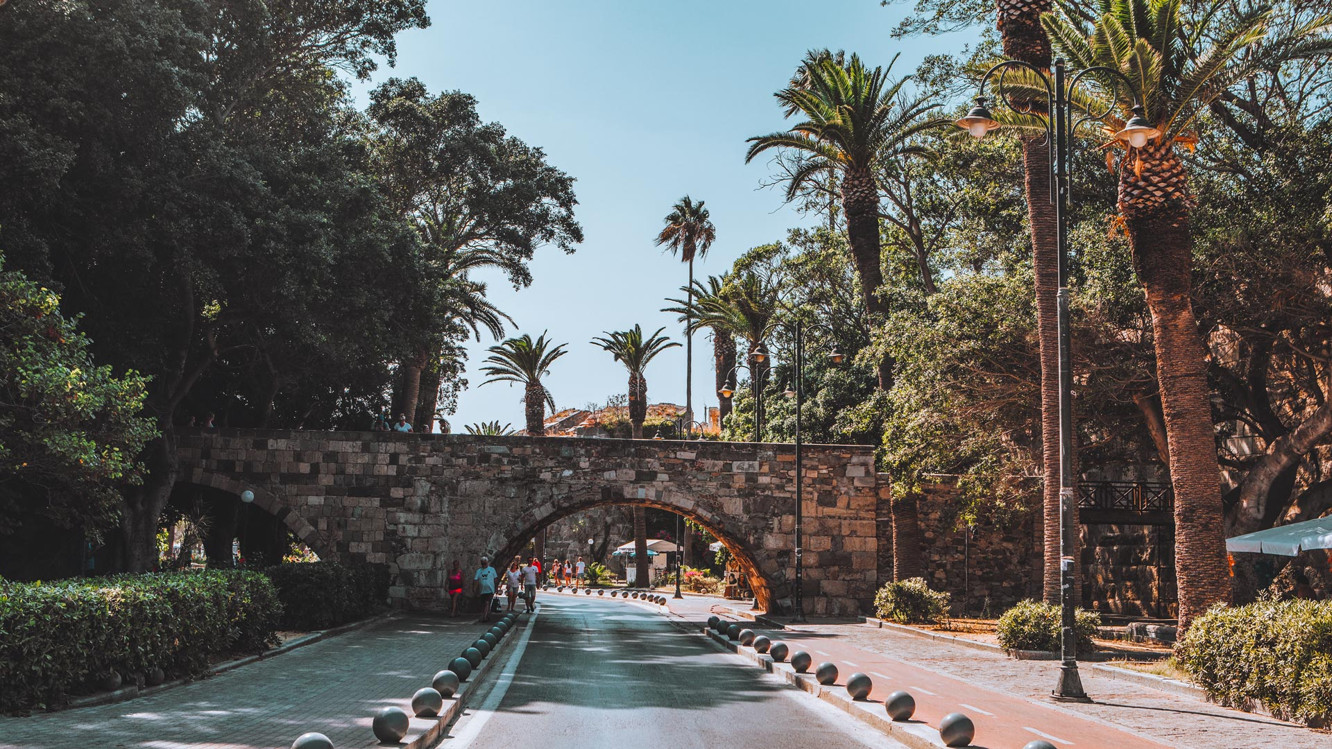 The famous bridge in the Avenue of Palm Tress, Kos town