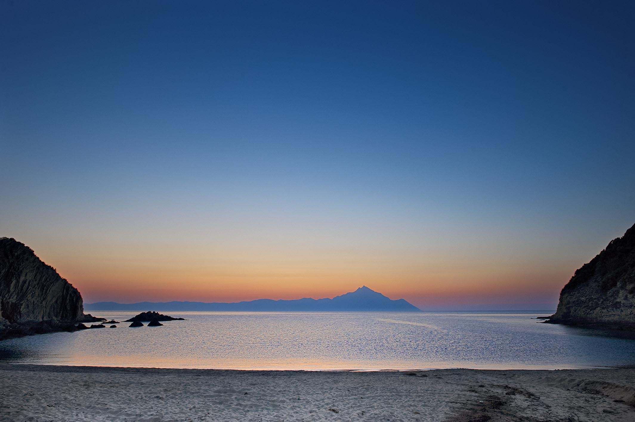Halkidiki's beach at sunset