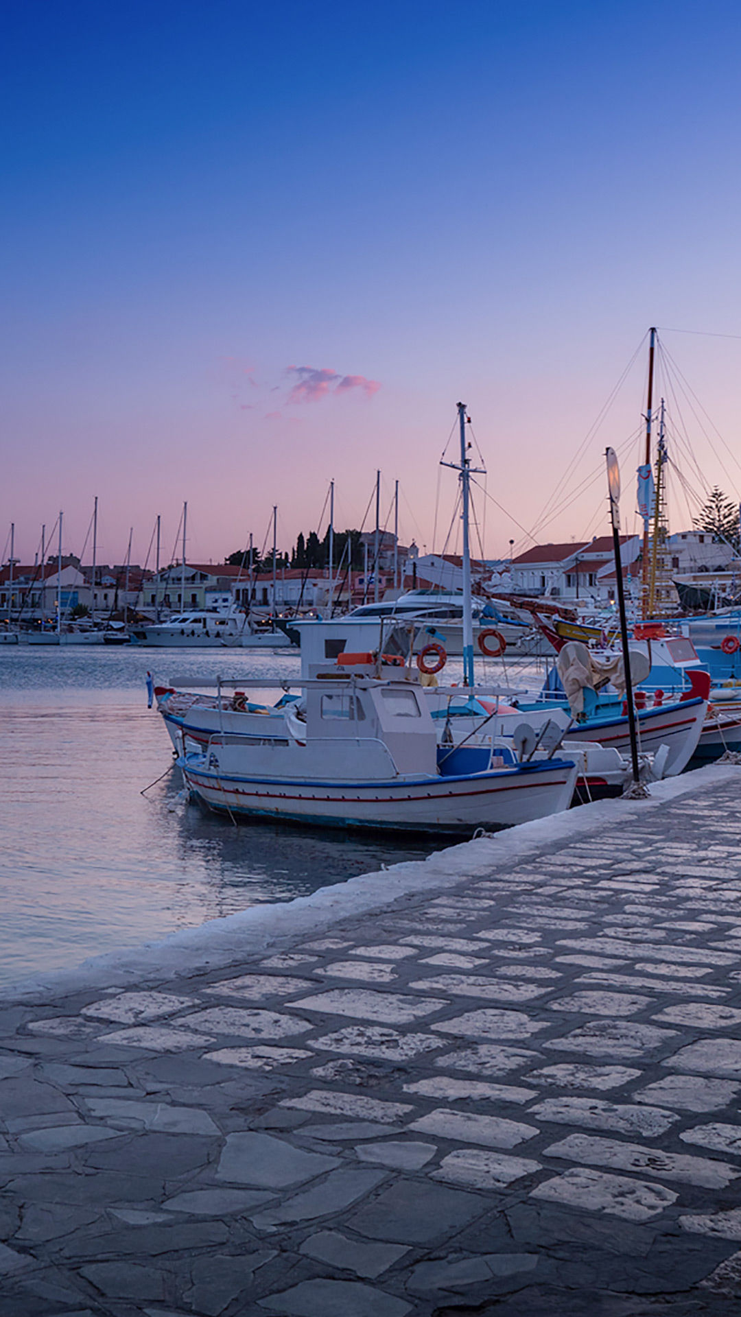 View of fishing boats in Pythagoreio