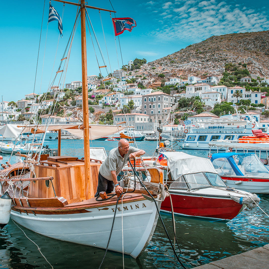 Fisherman in Hydra's port