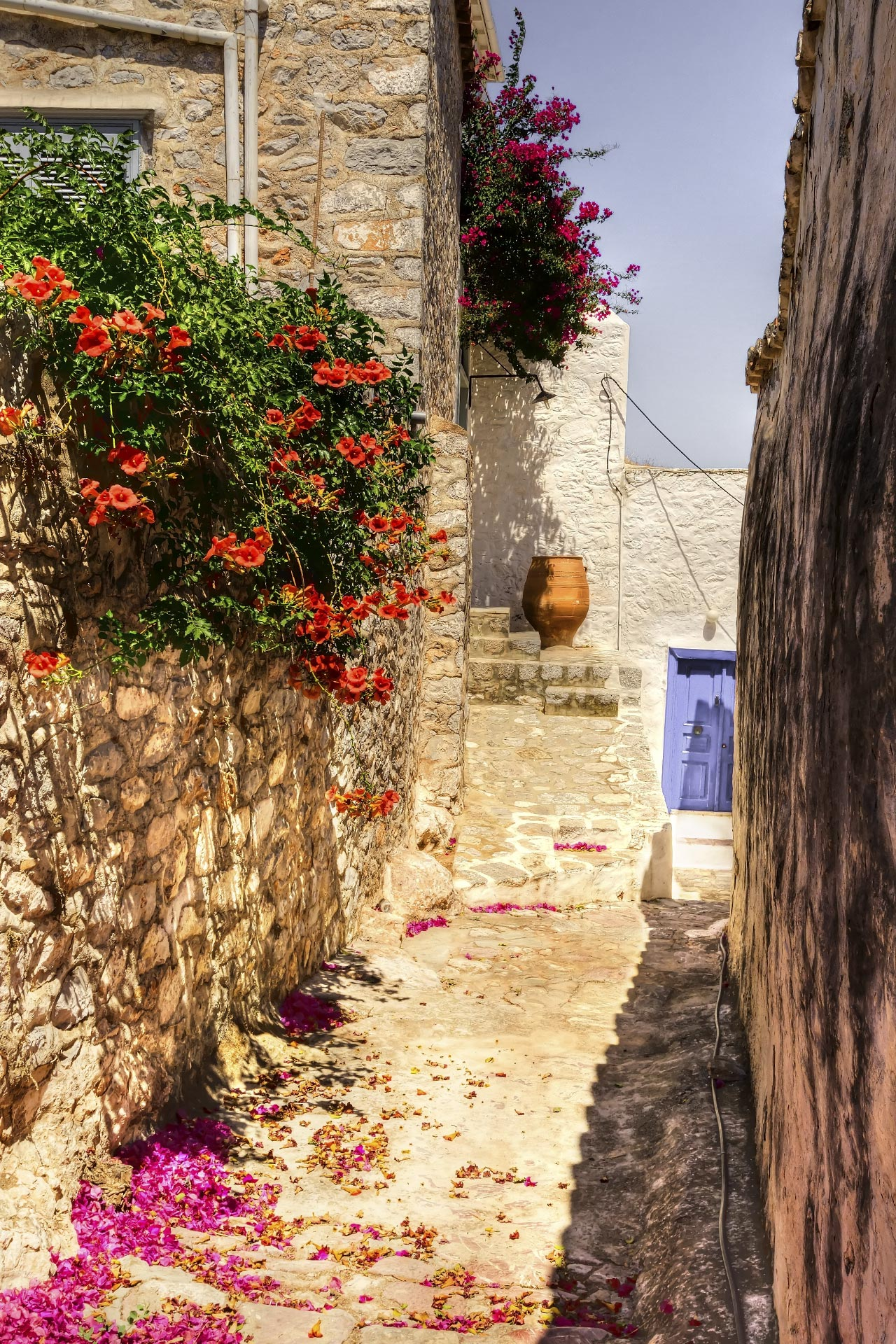 Picturesque alley on Hydra island
