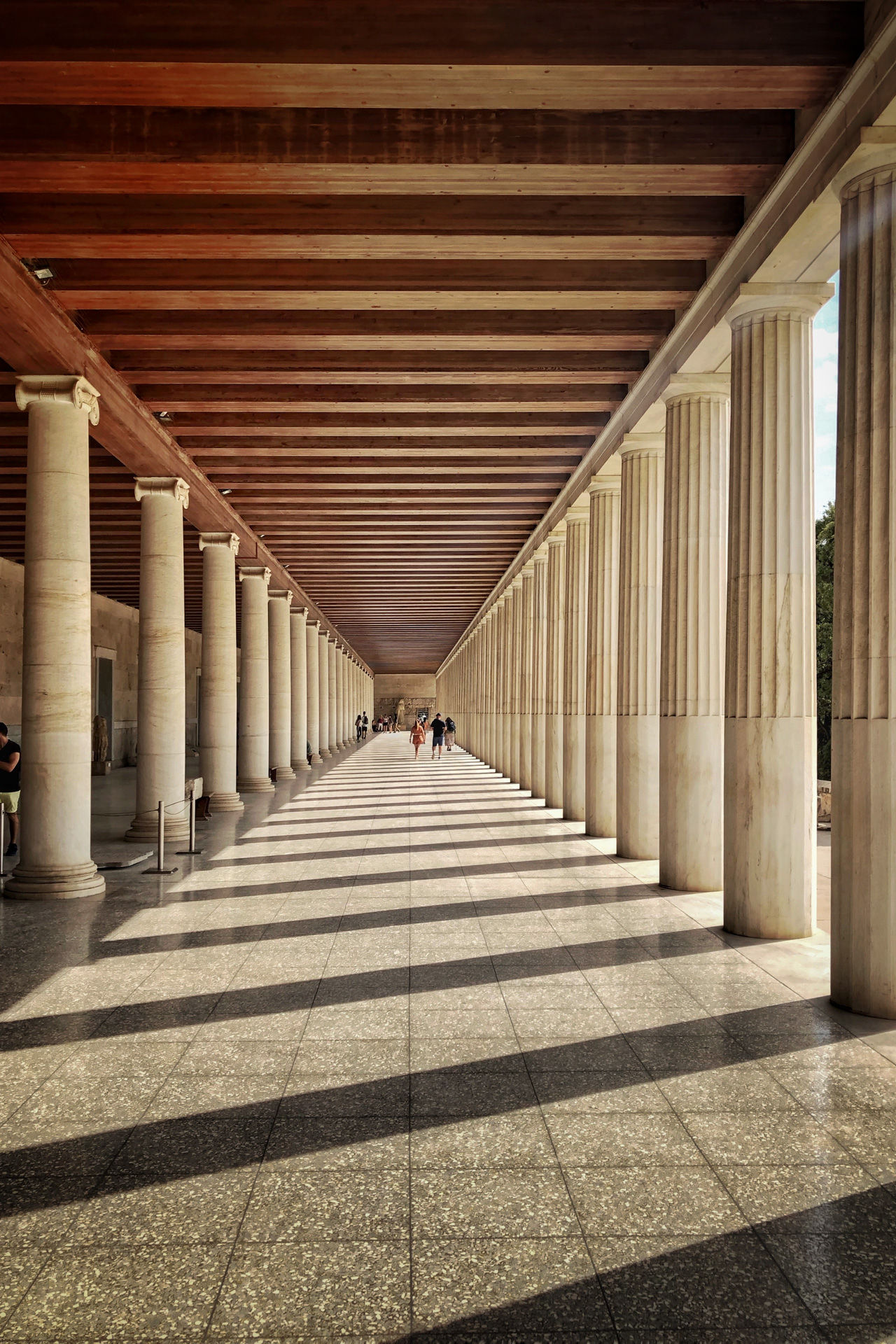 The Stoa of Attalos, named after King Attalos II of Pergamon who had it built as one of the city's main marketplaces in the 2nd century BC