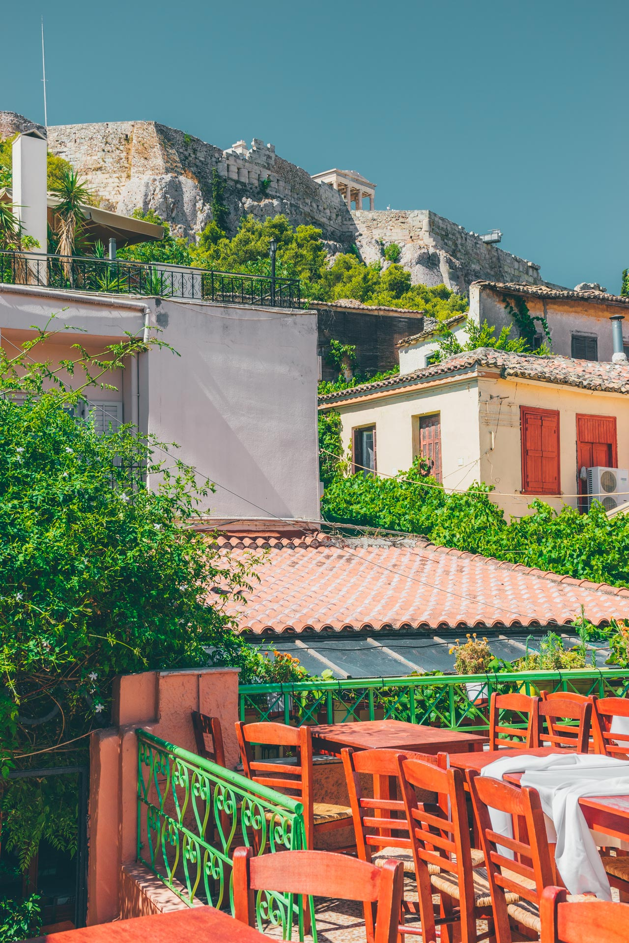 View of the Acropolis from a cafe in Plaka
