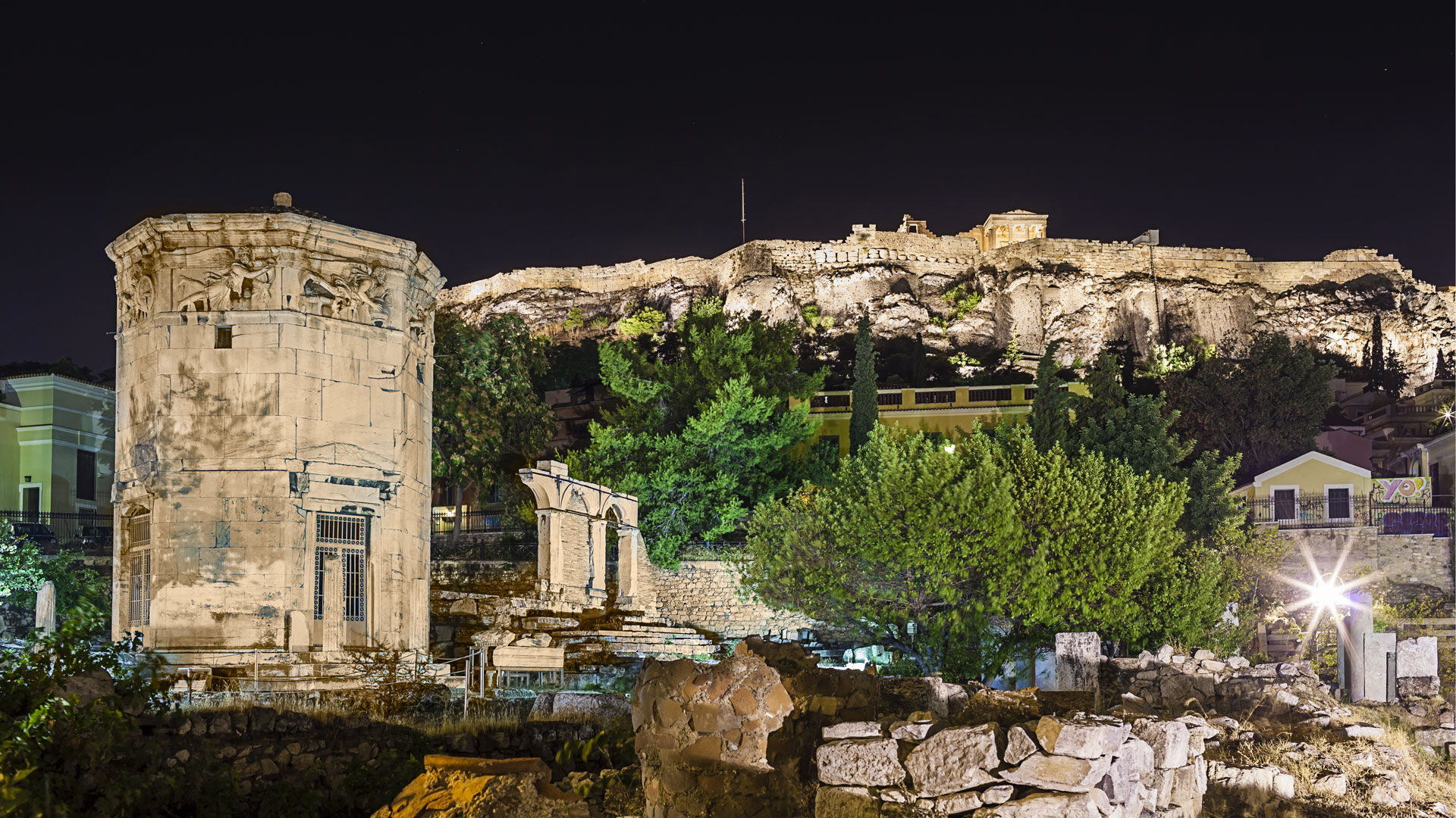 View of the Roman Agora and the Acropolis