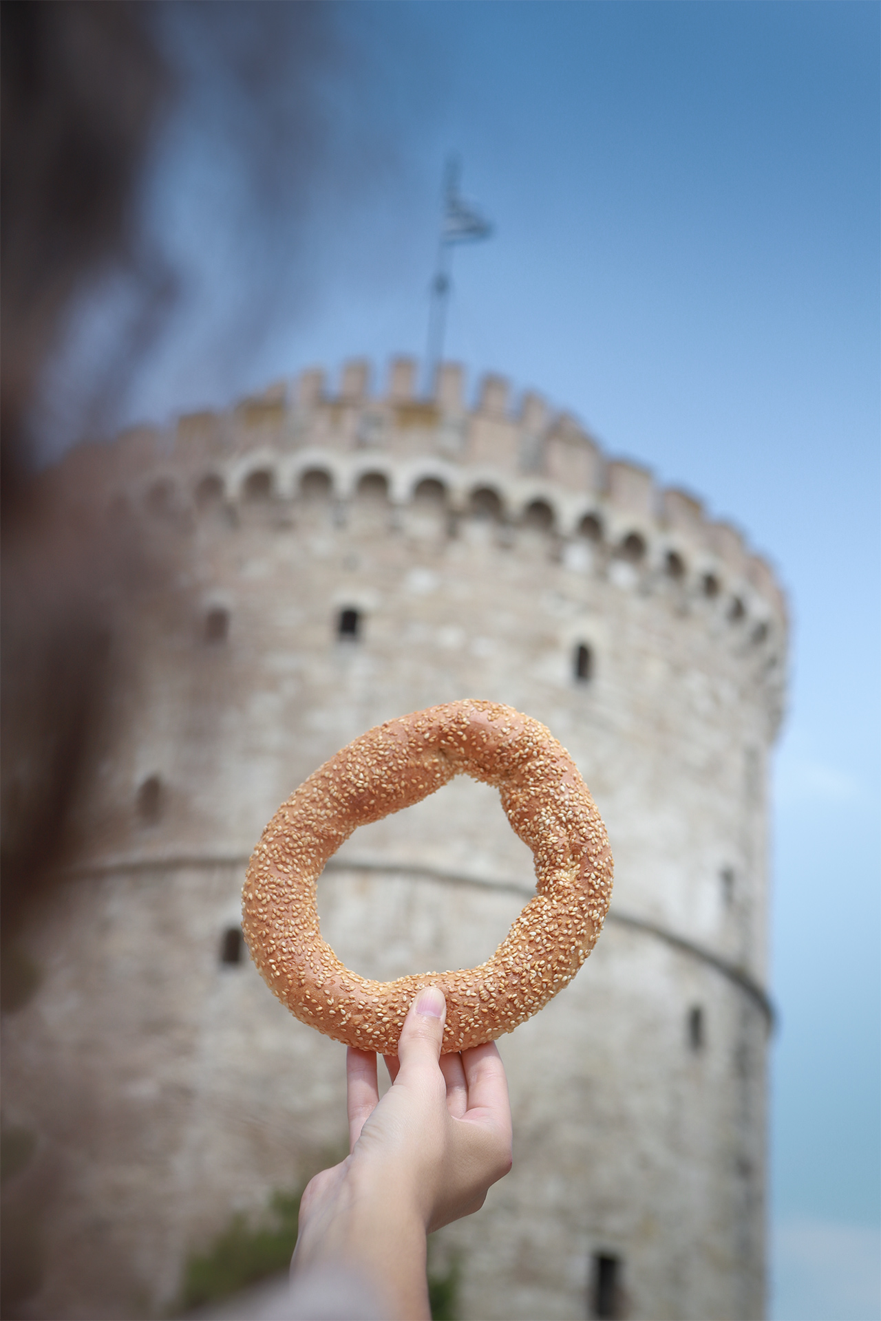 Koulouri, the sesame seed-crusted bread rings are popular all over the country, but they originated here in Thessaloniki