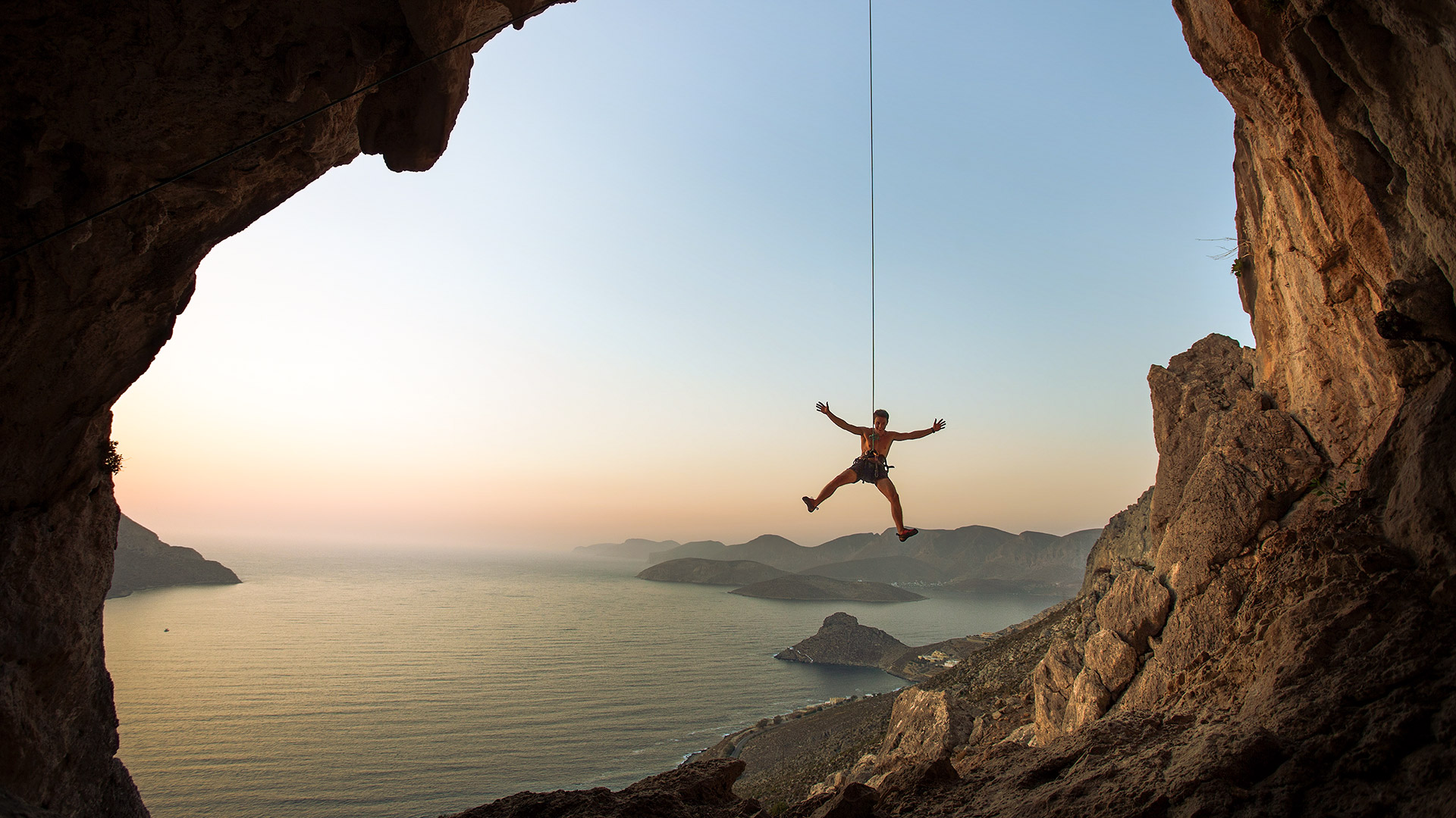 You can be inverted on an overhang with the incredible colours of the Aegean as a backdrop in the morning