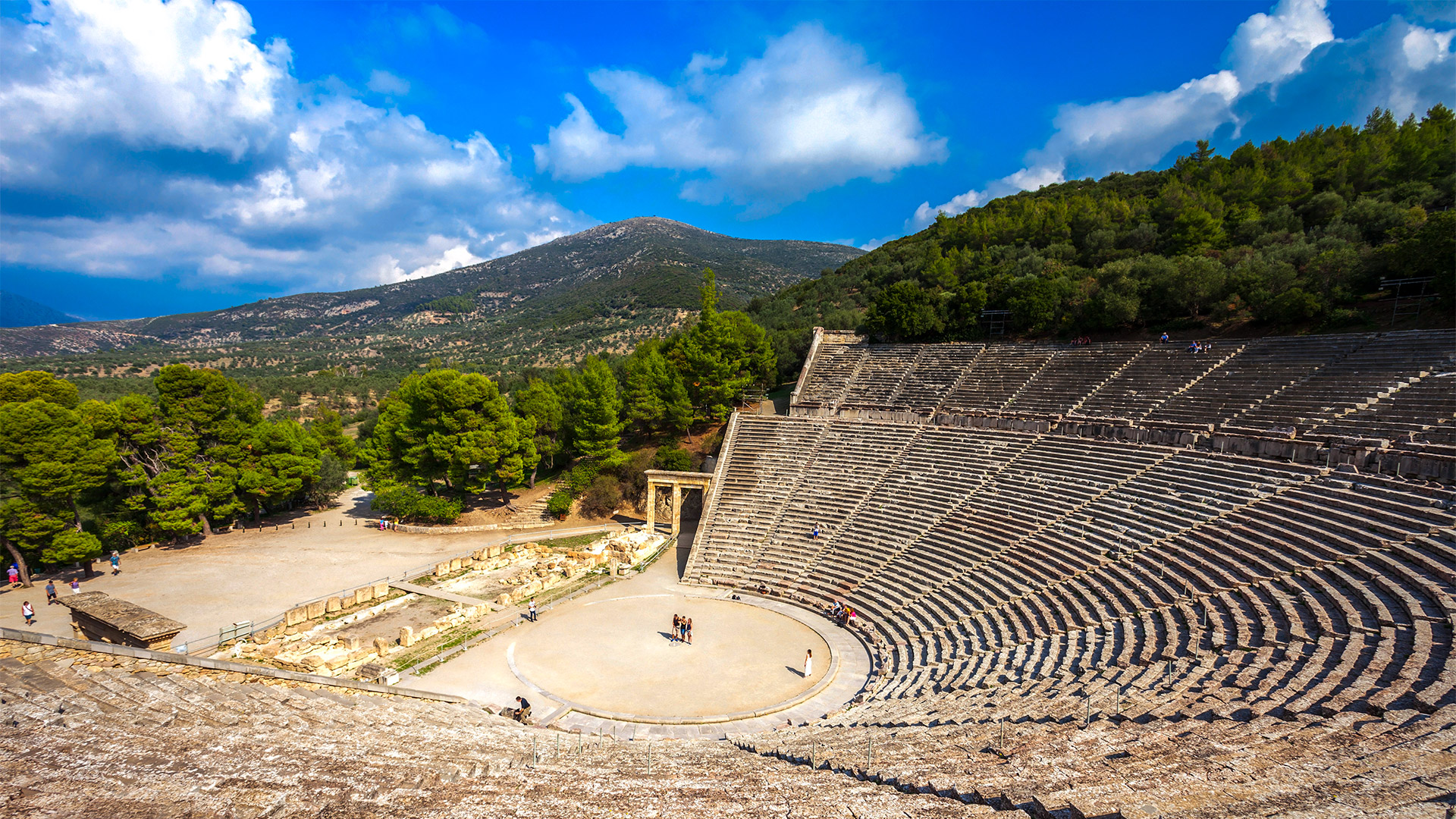 The Epidaurus Ancient Theater built on the Cynortion Mountains