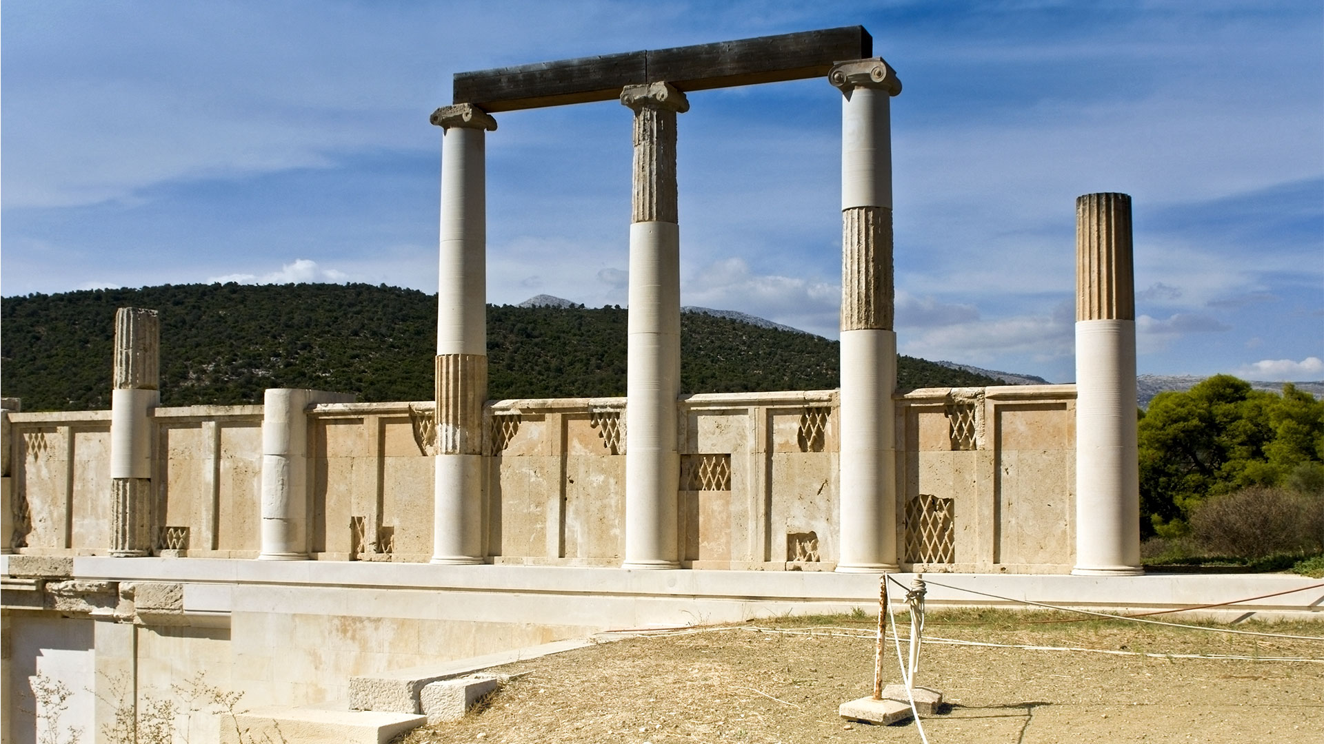 The Temple of Asclepius and Avaton at Ancient Epidaurus in Peloponnese