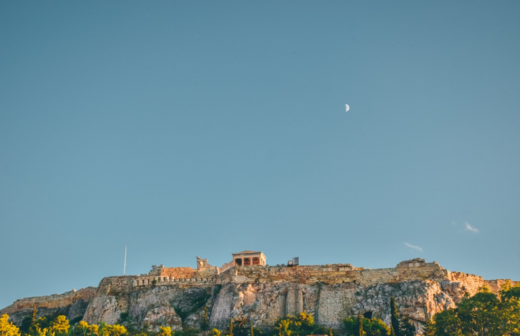 Acropolis under the rising moon