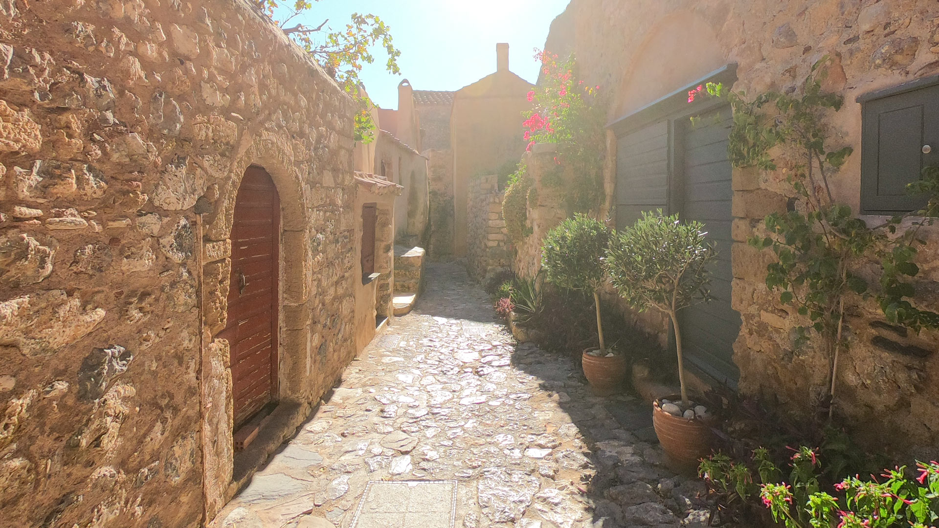 Cobblestone street in the Lower Town of Monemvasia