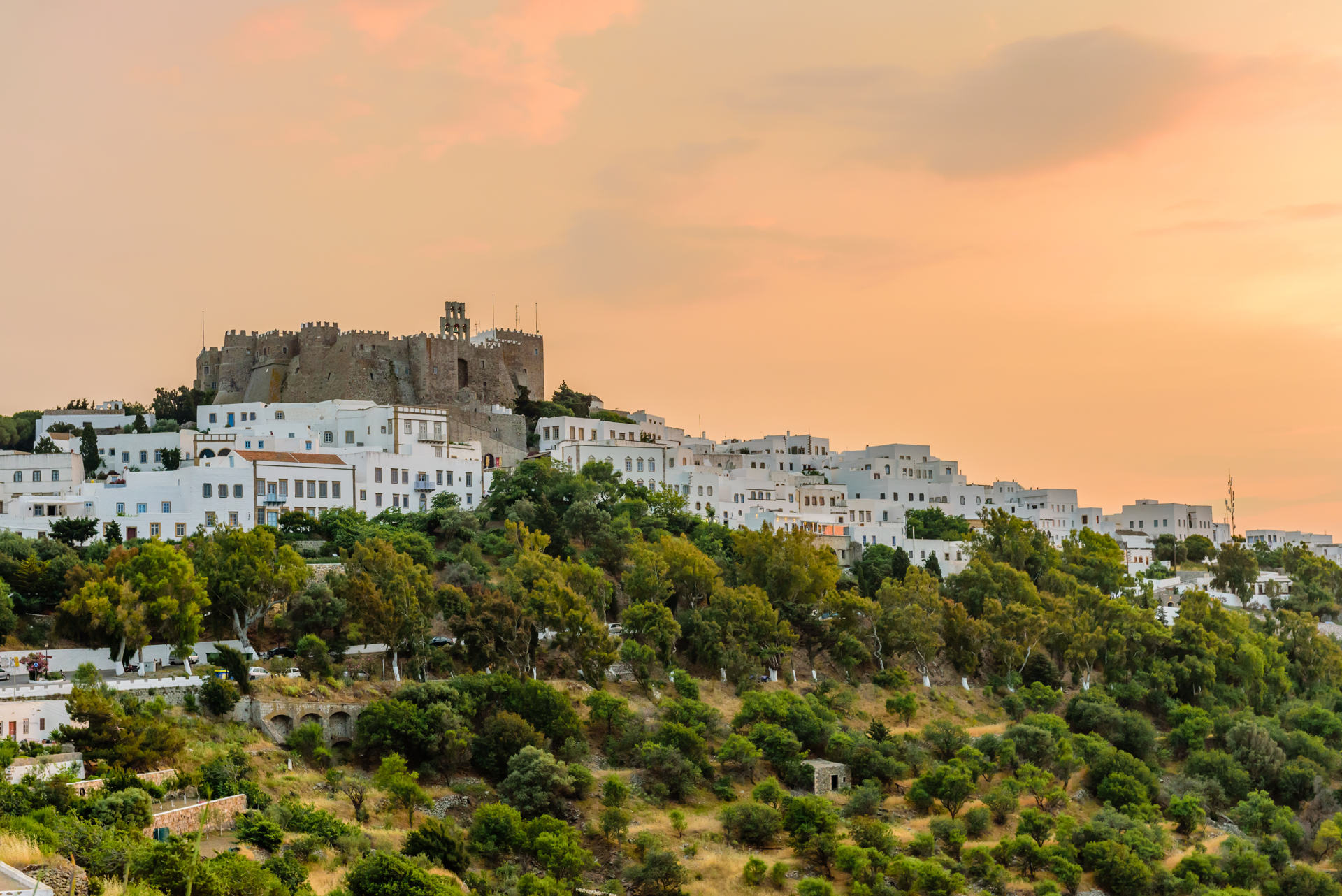 View of Monastery of st. John in Patmos island, Dodecanese, Greece
