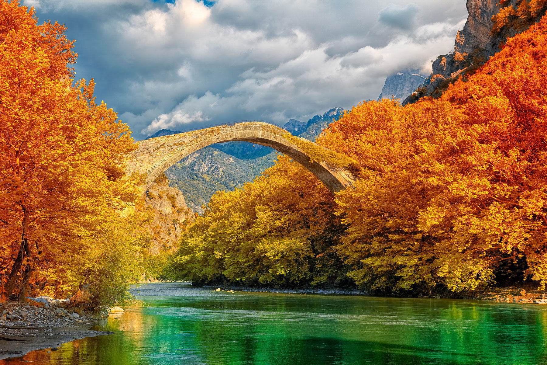 Konitsa bridge and the aoos river